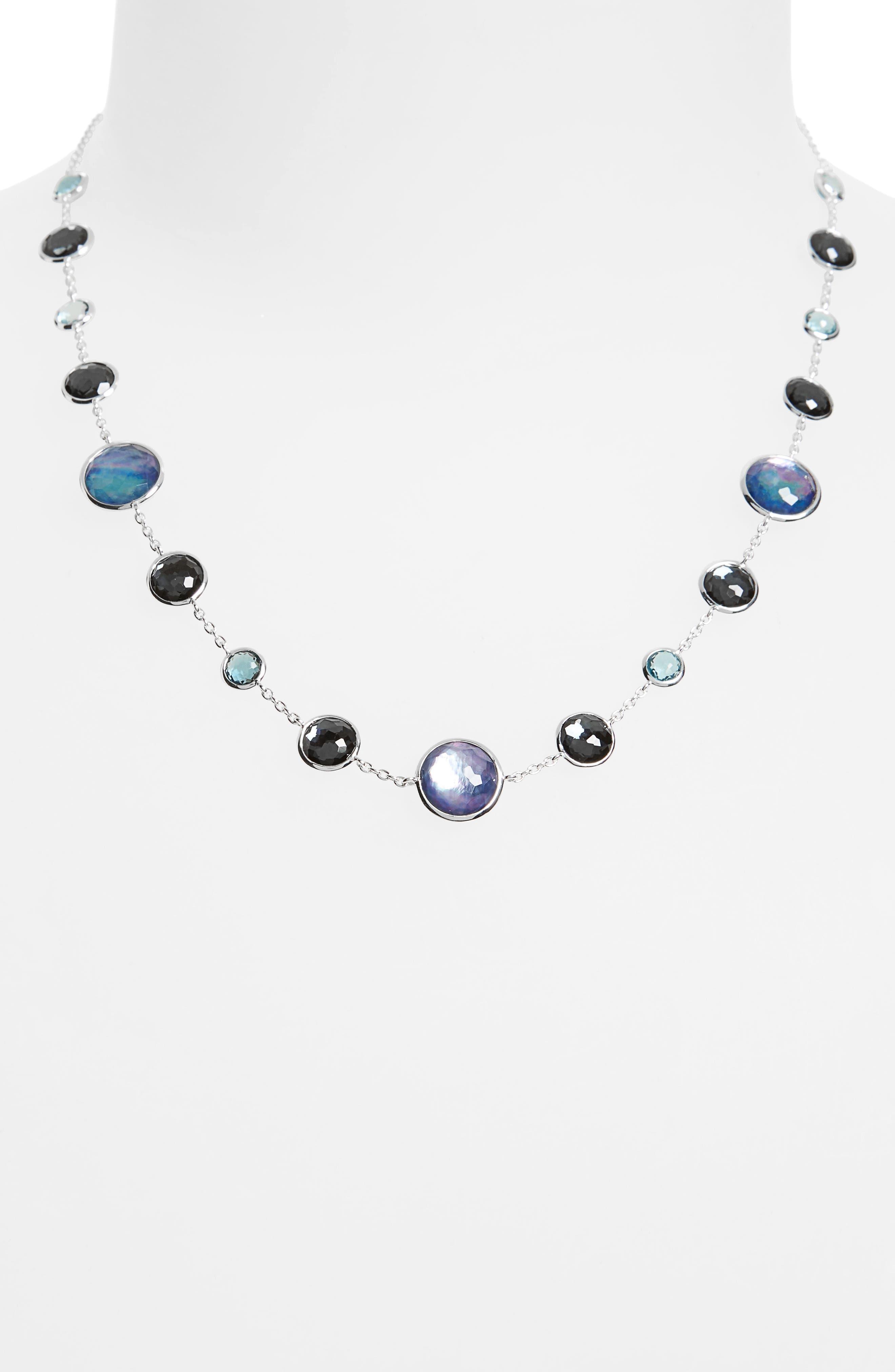 Semiprecious Stone Collar Necklace,                             Alternate thumbnail 2, color,                             BLUE