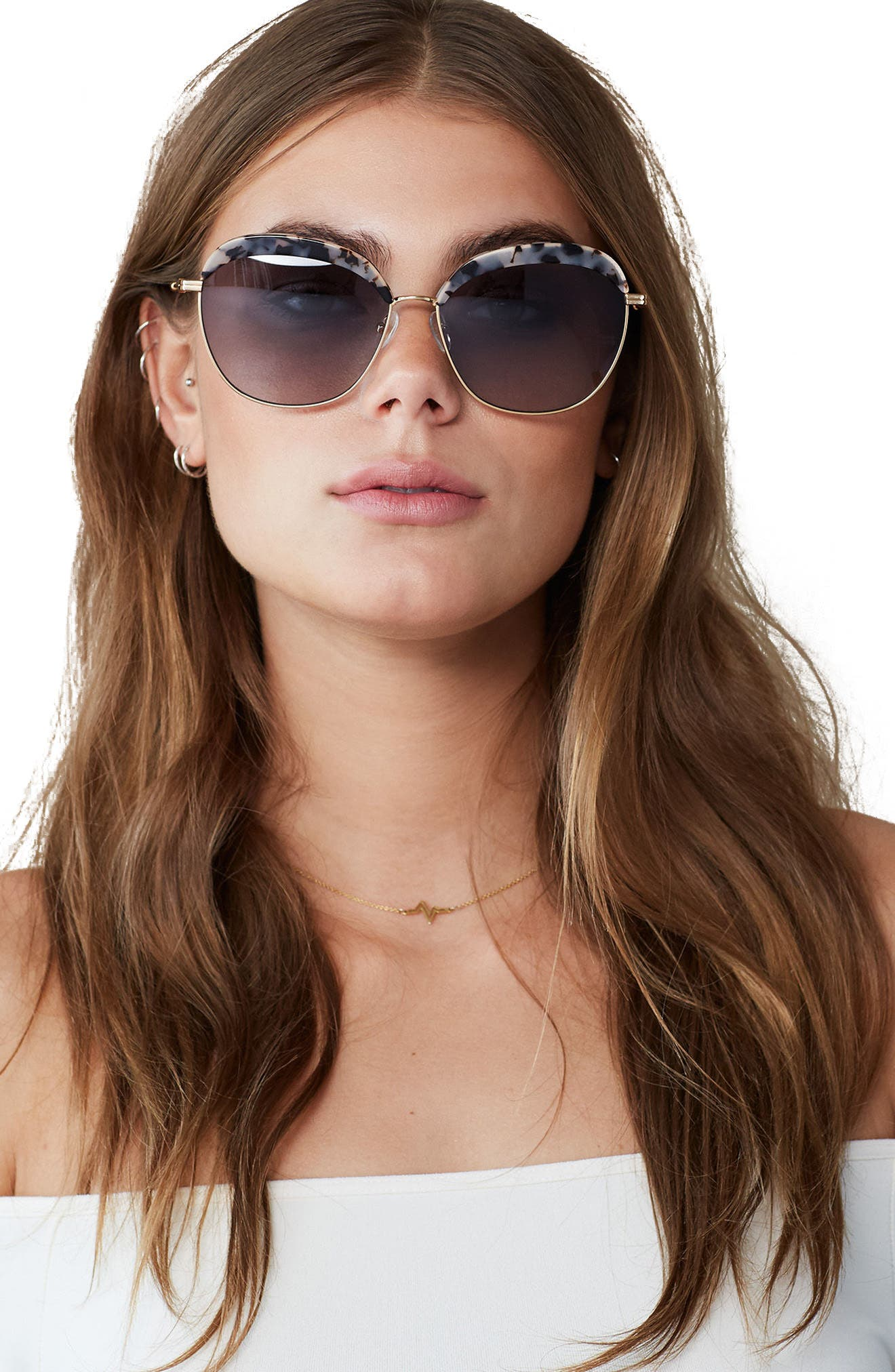 Birdie 60mm Oversize Sunglasses,                             Alternate thumbnail 3, color,                             200
