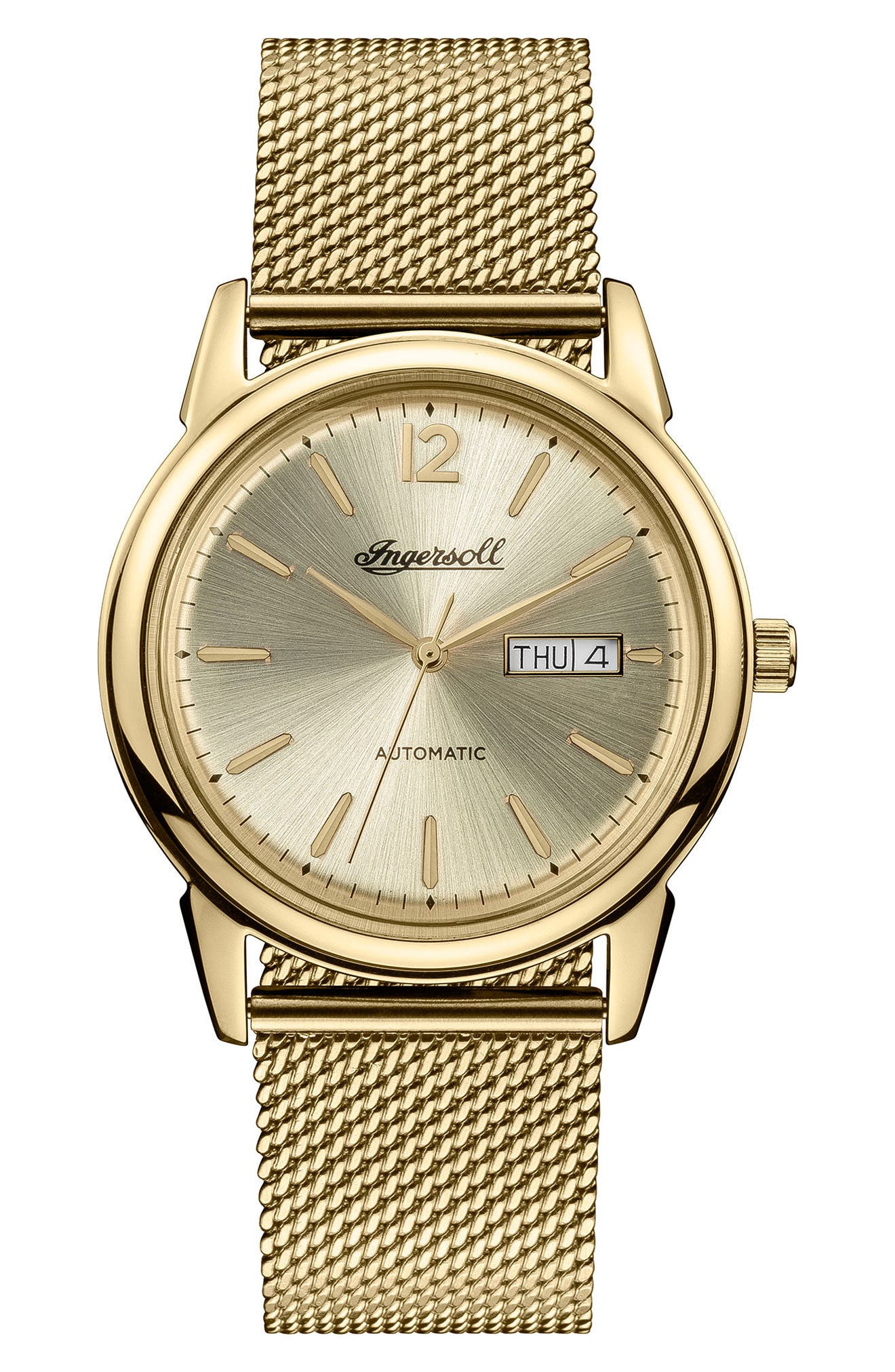 Ingersoll New Haven Automatic Mesh Strap Watch, 40mm,                             Main thumbnail 1, color,                             GOLD