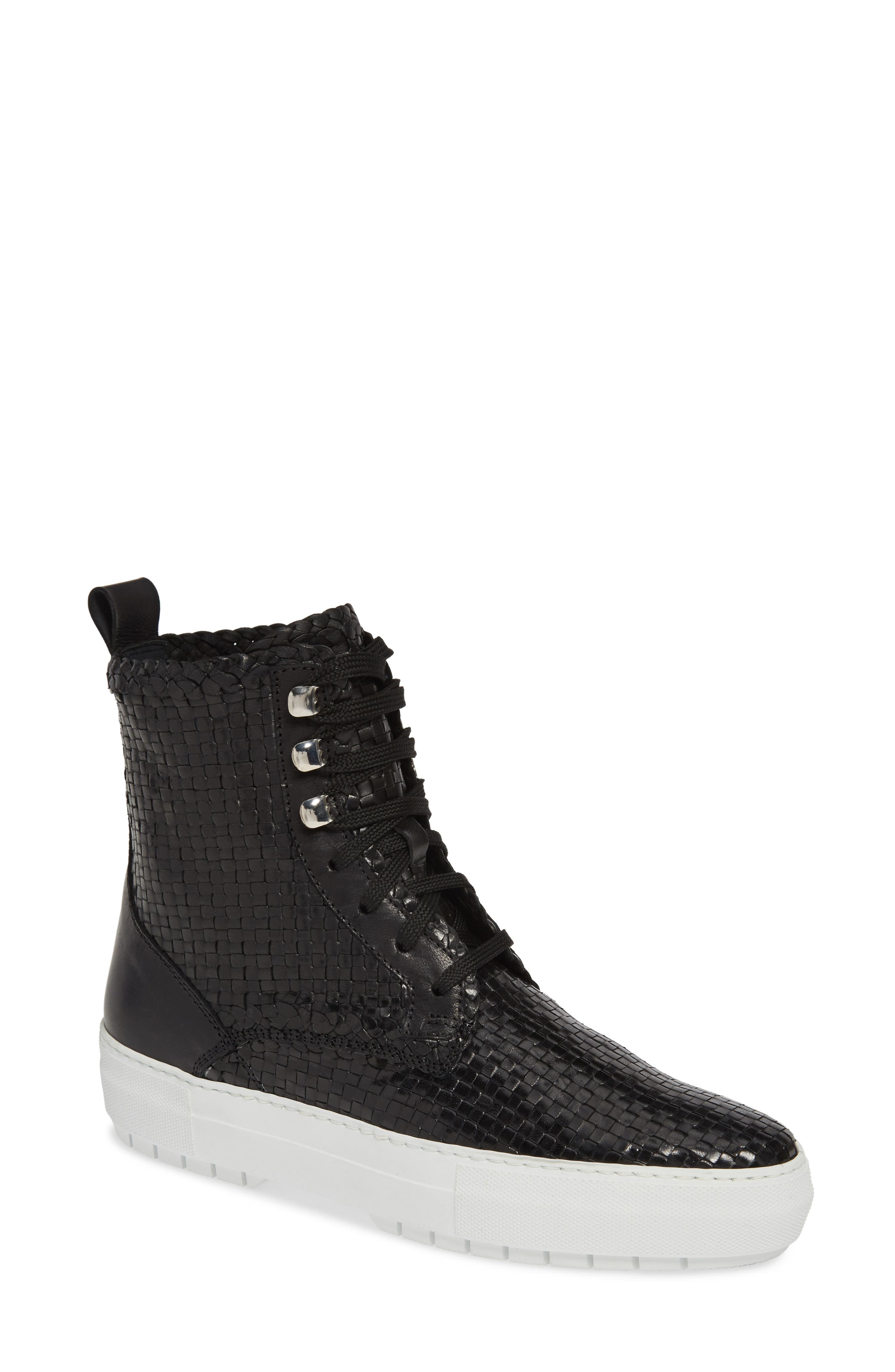 Tess Woven Boot, Main, color, BLACK LEATHER