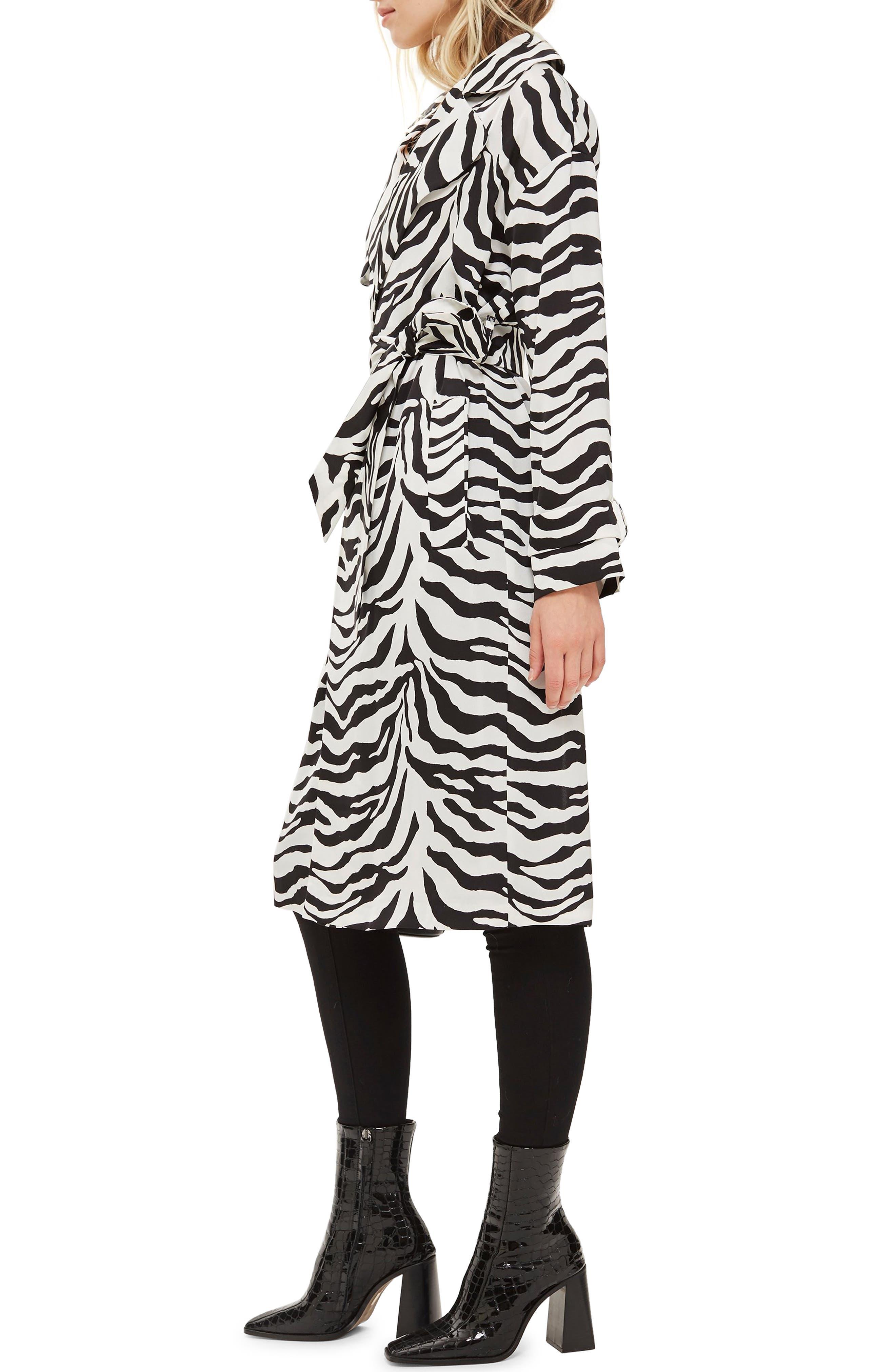 Zebra Print Duster Jacket,                             Alternate thumbnail 3, color,                             100