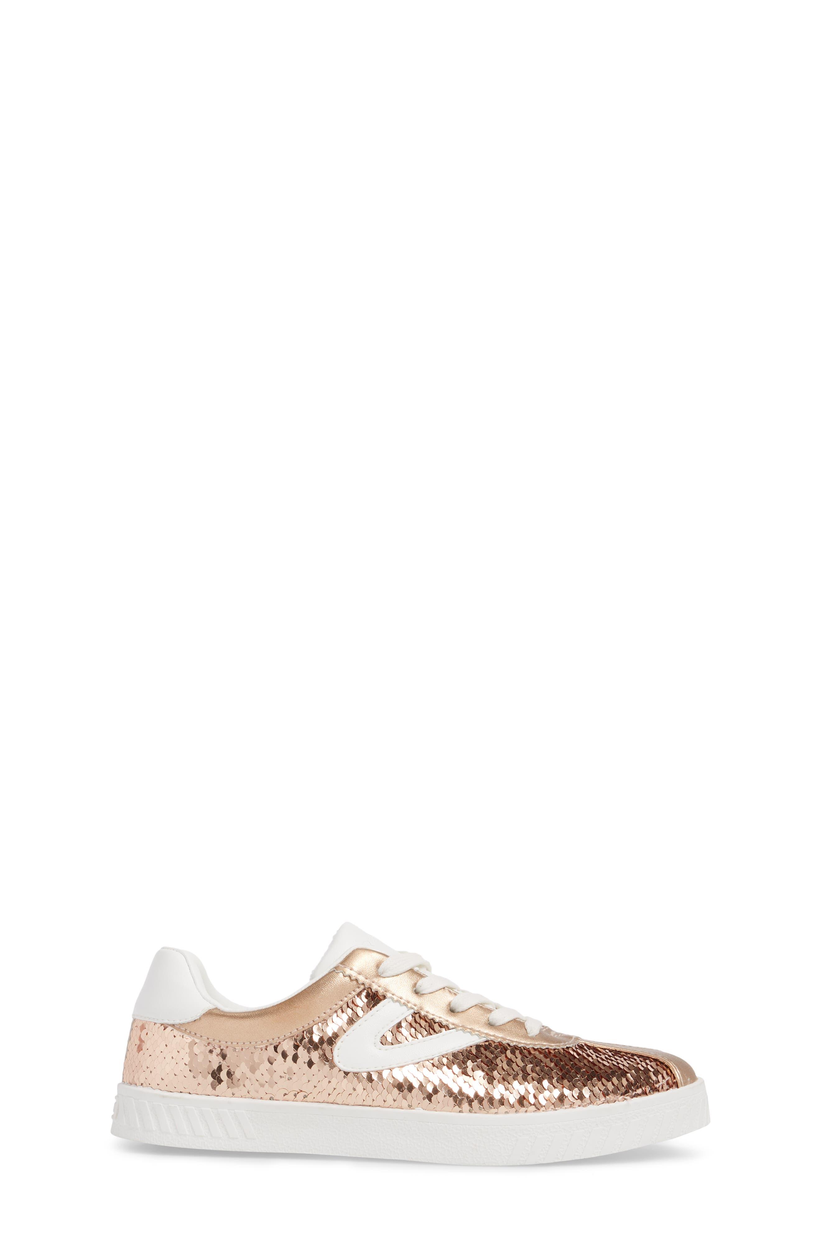 Camden Sequin Low Top Sneaker,                             Alternate thumbnail 3, color,                             DARK PINK