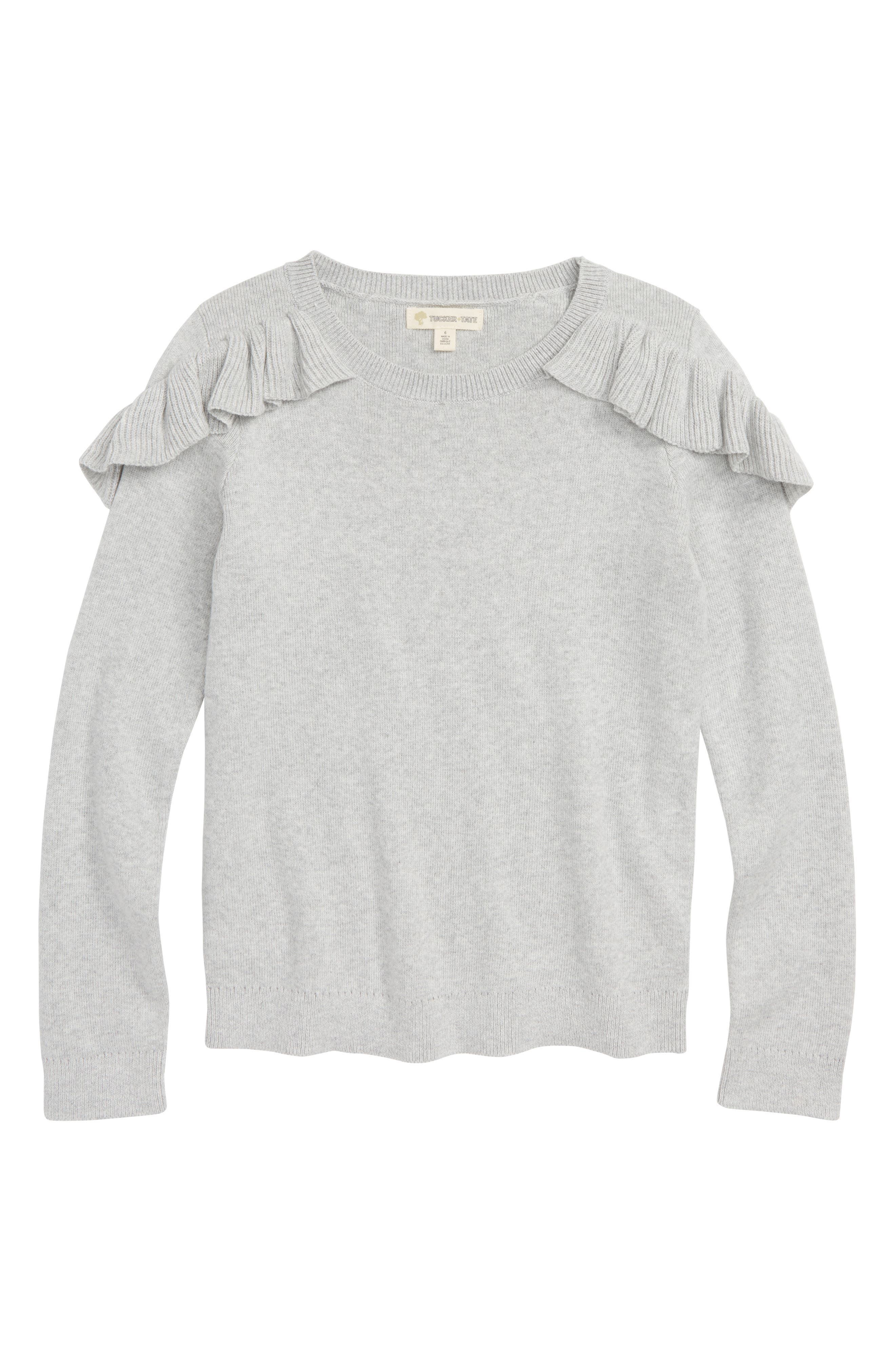 Ruffle Sweater,                         Main,                         color, GREY ASH HEATHER