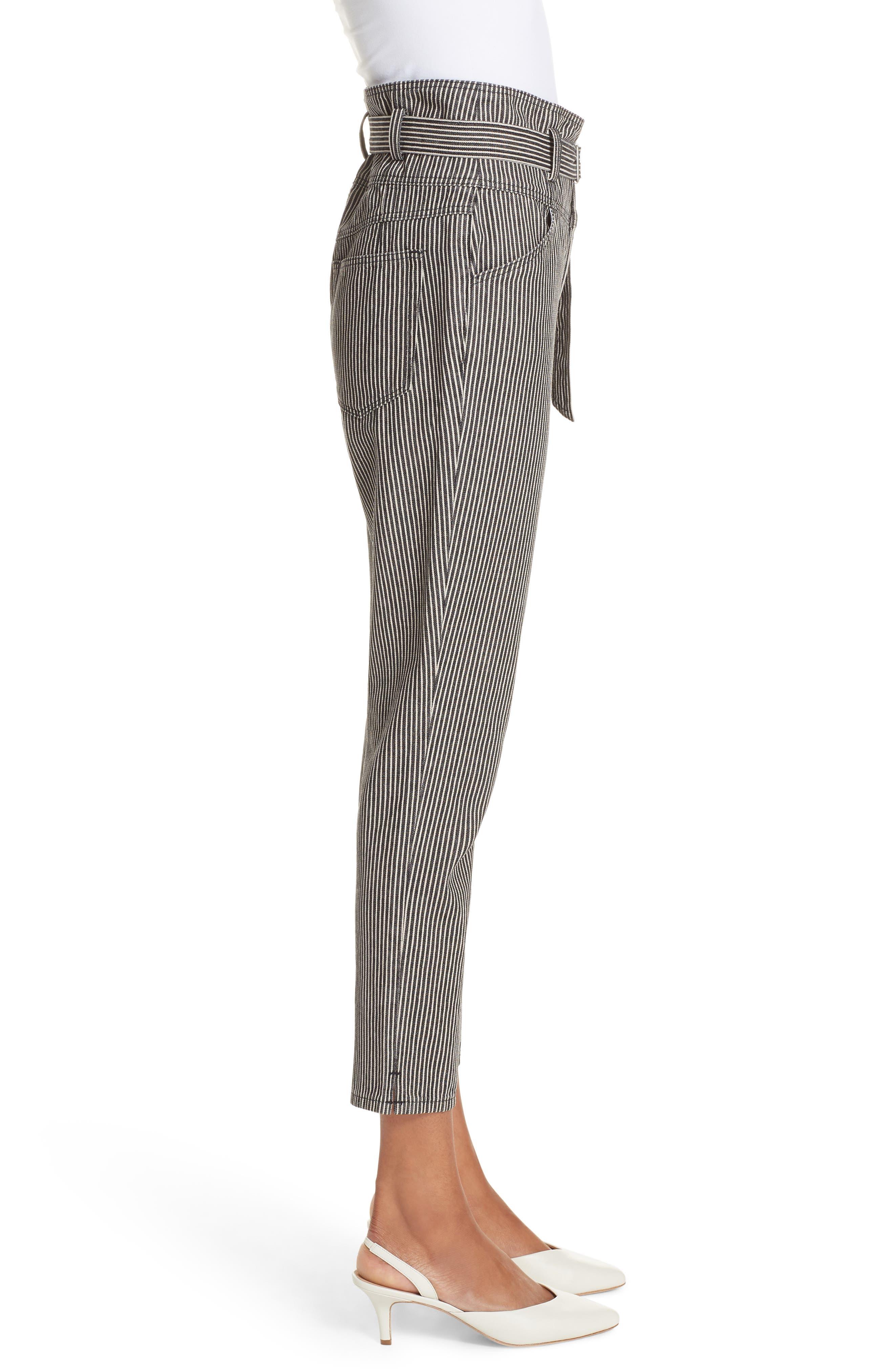 Stripe Crop Pants,                             Alternate thumbnail 3, color,                             001