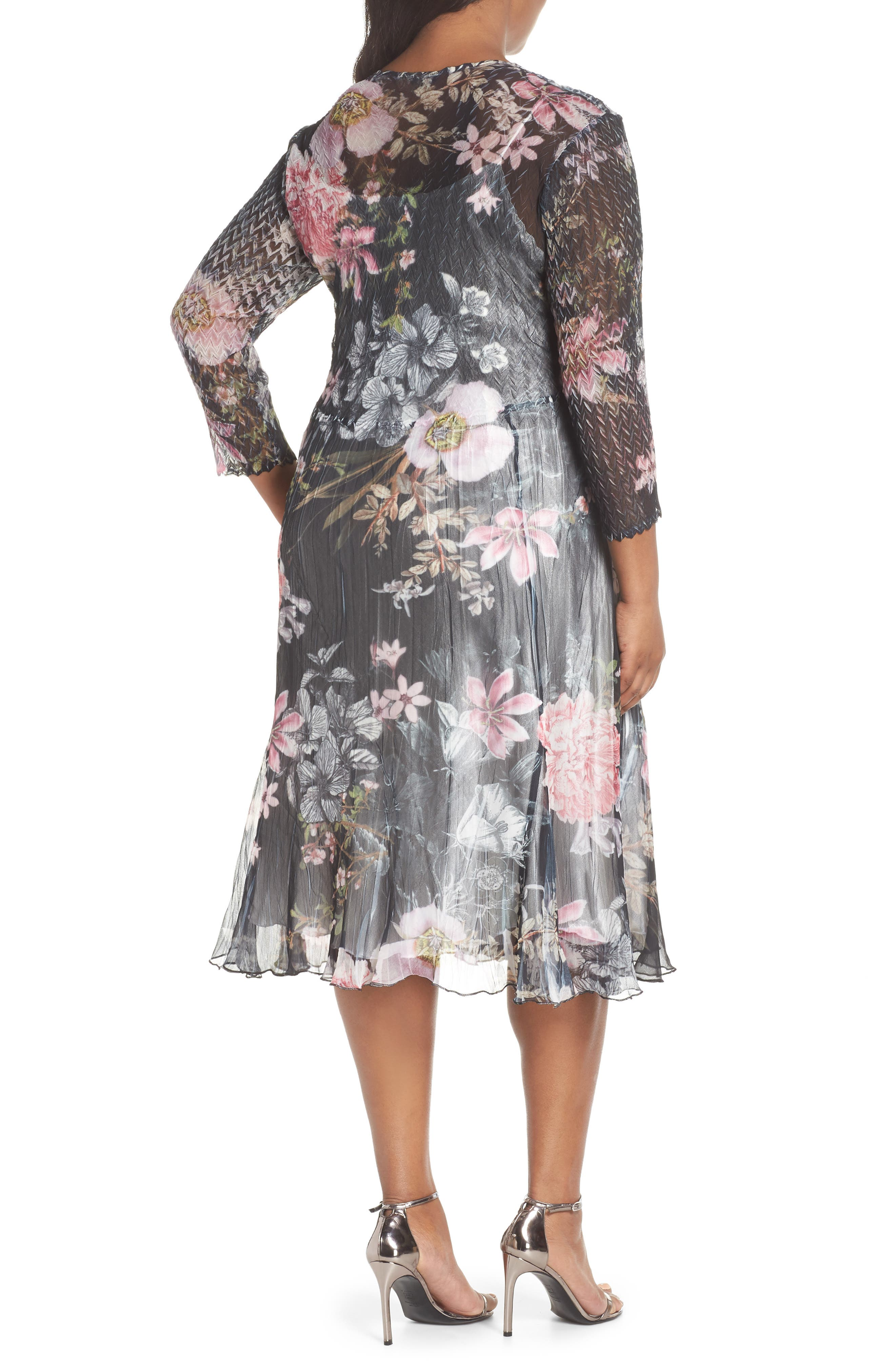 Kamarov Floral Charmeuse & Chiffon Floral A-Line Dress,                             Alternate thumbnail 2, color,                             001