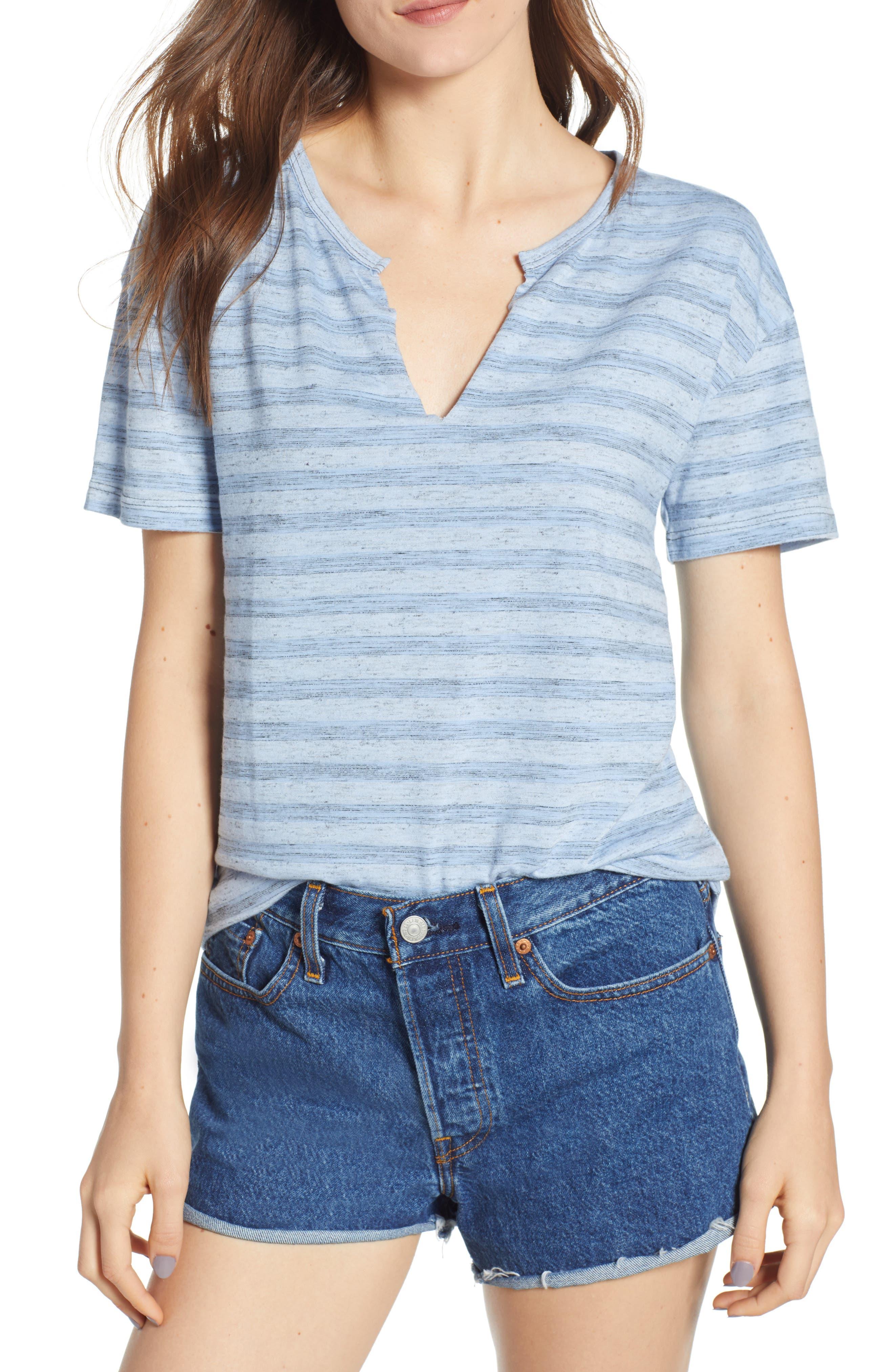 Stripe Split Neck Tee,                         Main,                         color, BLUE