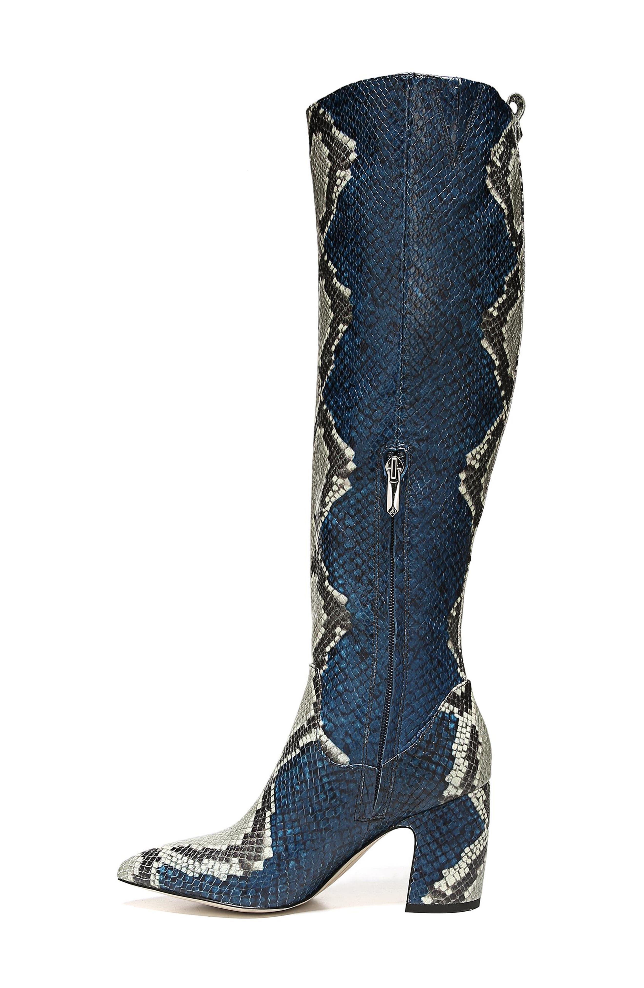 Hai Knee High Boot,                             Alternate thumbnail 9, color,                             PEACOCK EMBOSSED LEATHER