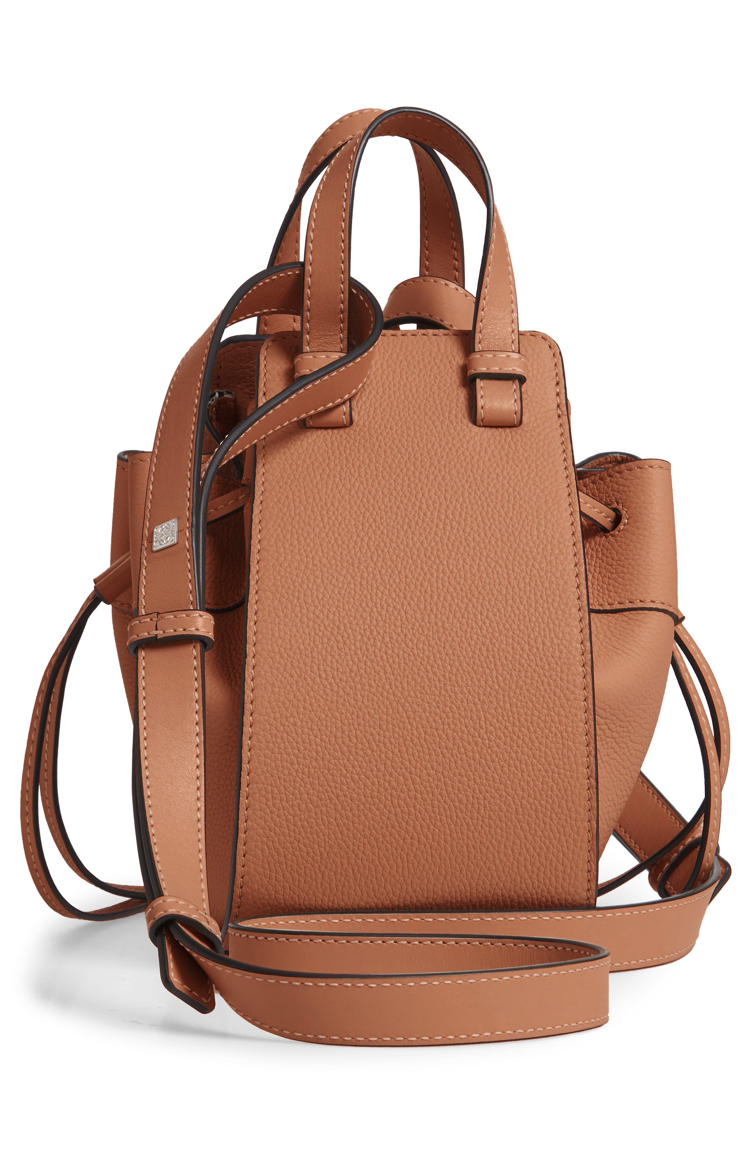 LOEWE,                             Mini Hammock Calfskin Leather Hobo Bag,                             Alternate thumbnail 4, color,                             TAN