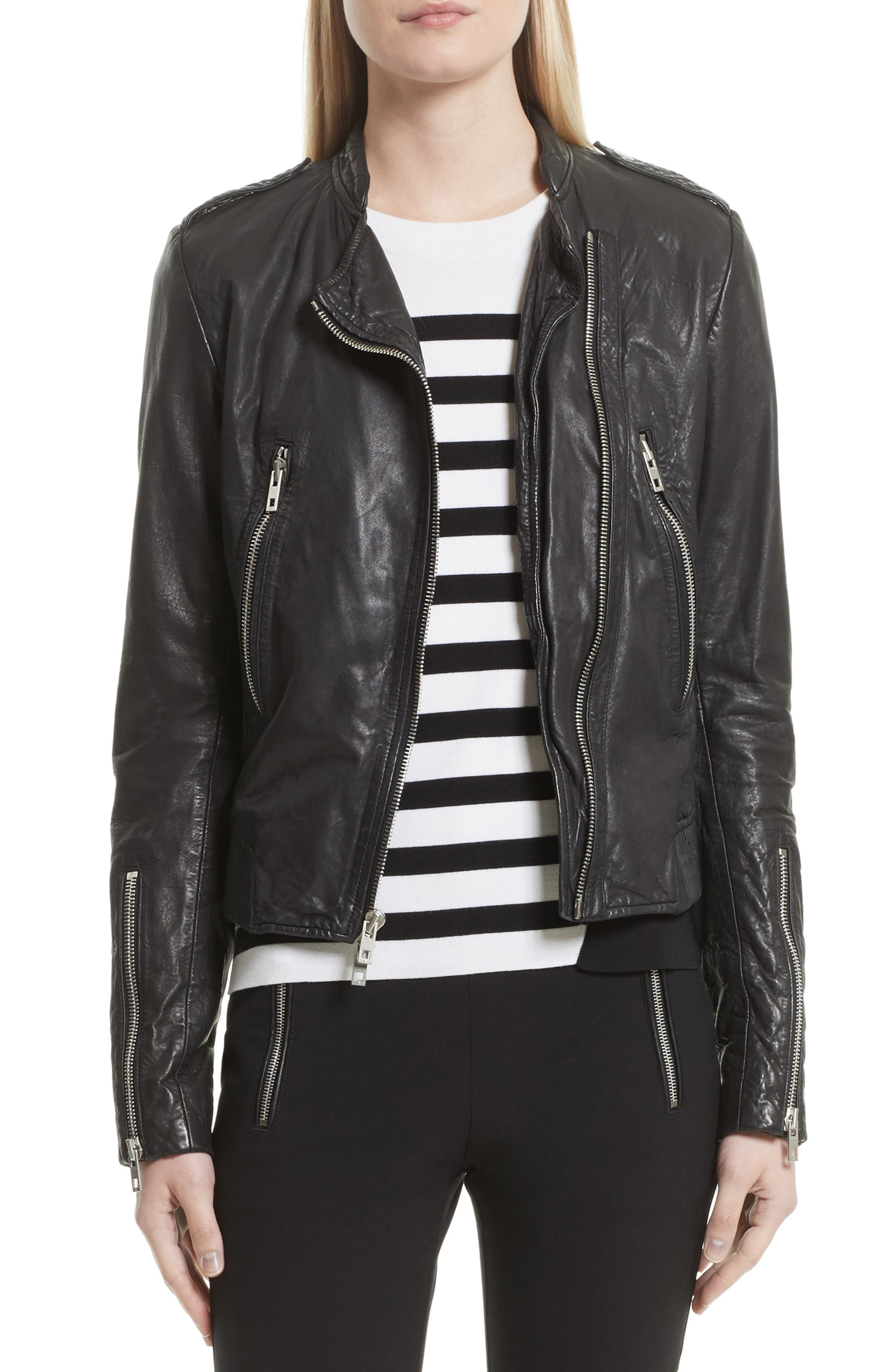 Lyon Leather Jacket,                         Main,                         color, 001