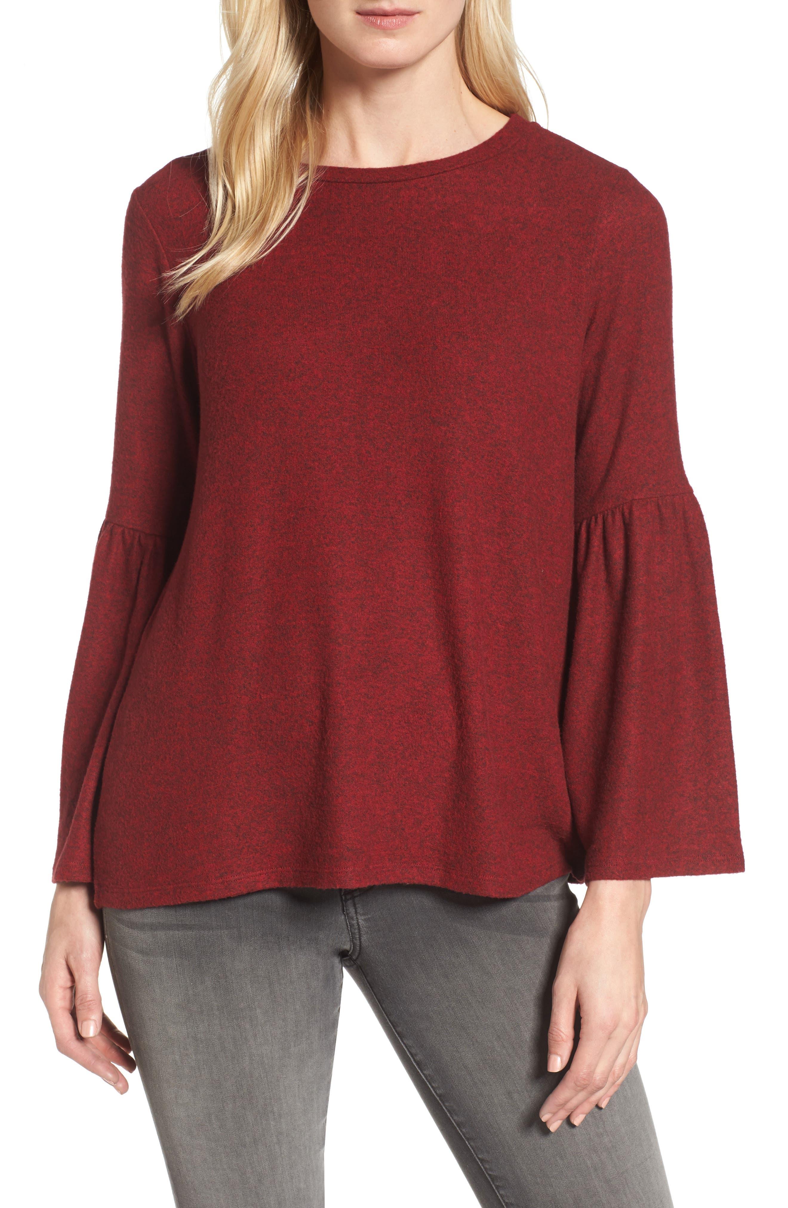 Bell Sleeve Cozy Fleece Pullover,                             Main thumbnail 5, color,