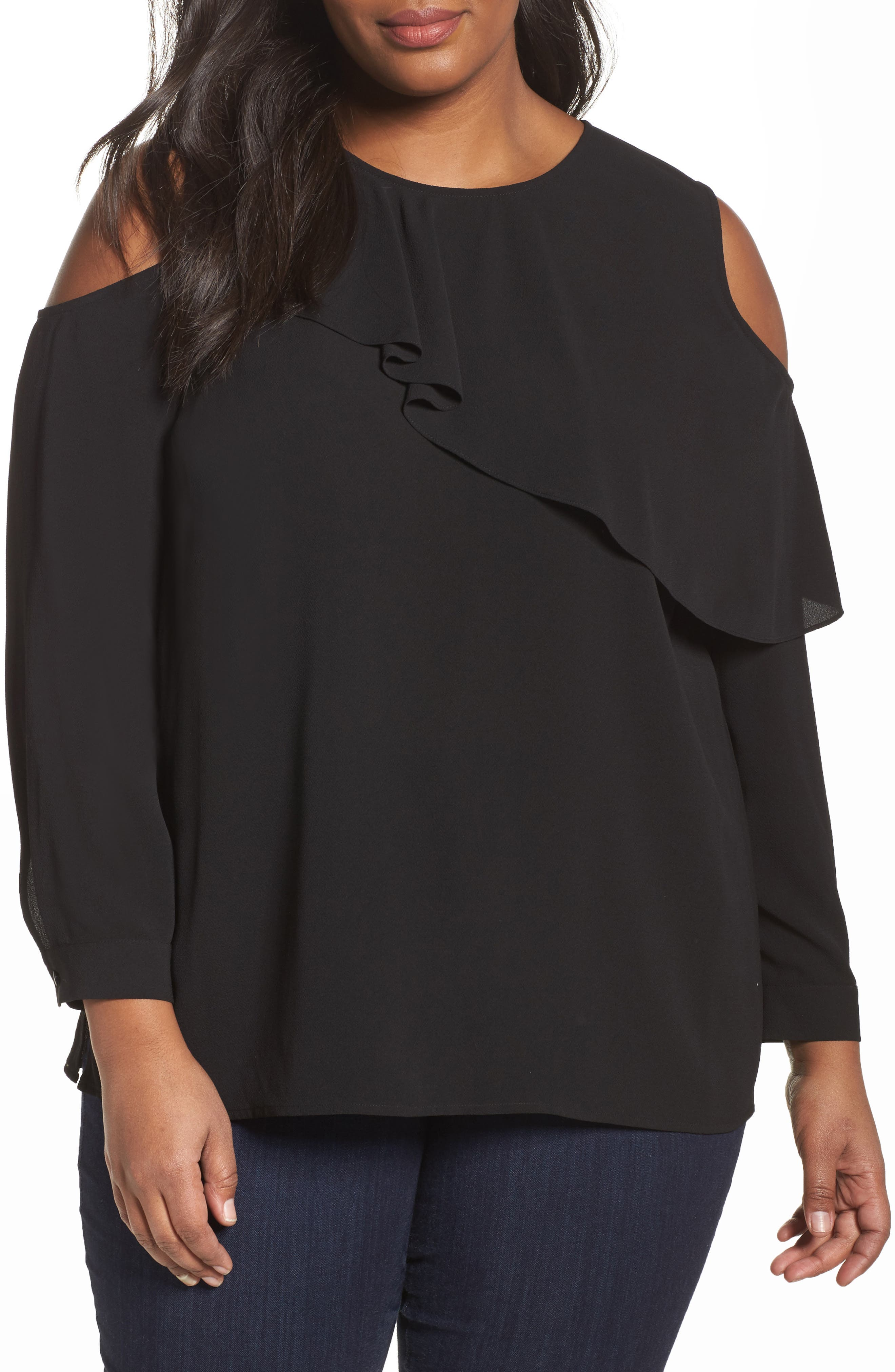 Asymmetrical Ruffle Cold Shoulder Top,                         Main,                         color, 019