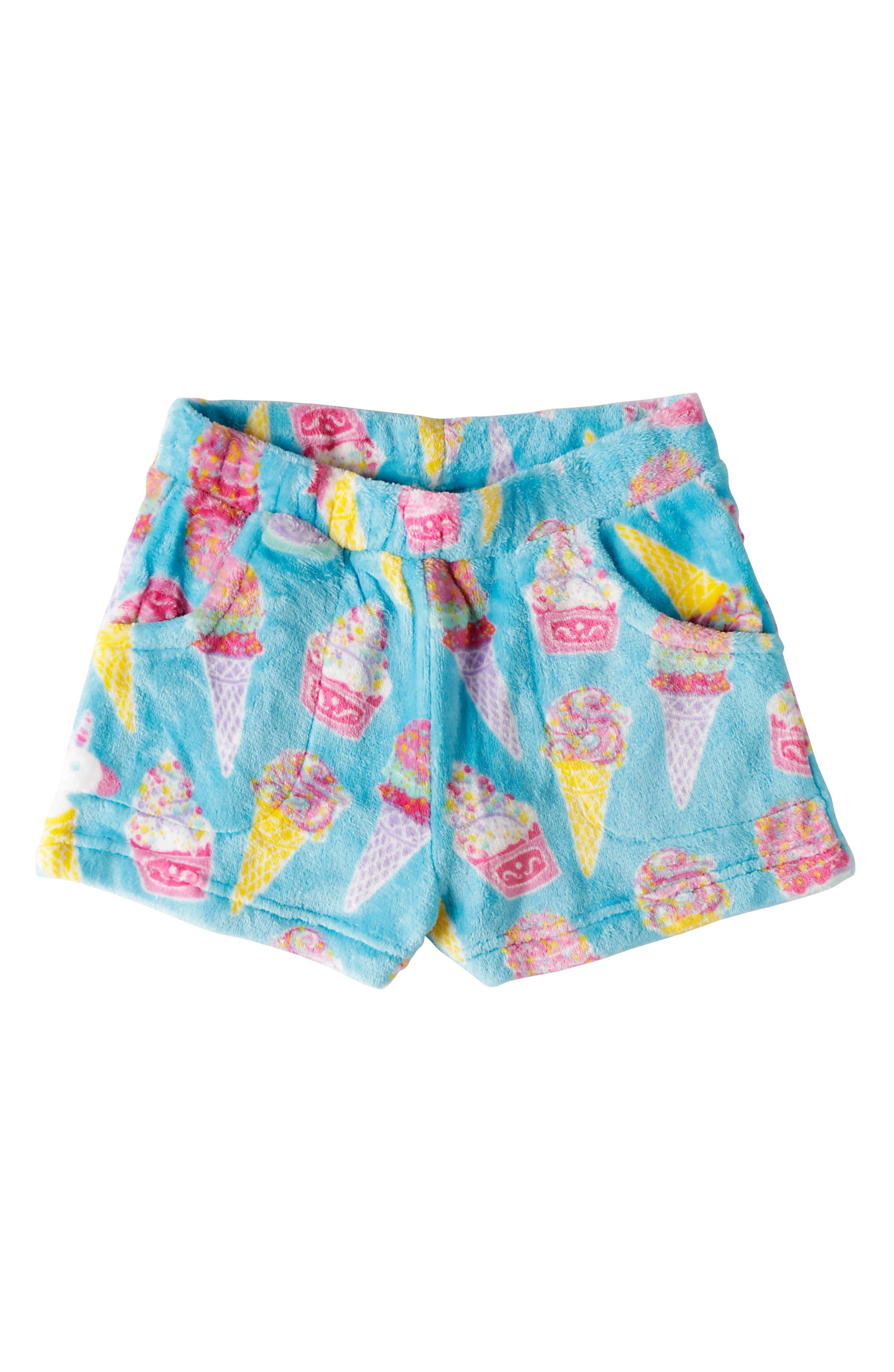 Ice Cream Fleece Pajama Shorts,                             Main thumbnail 1, color,                             440