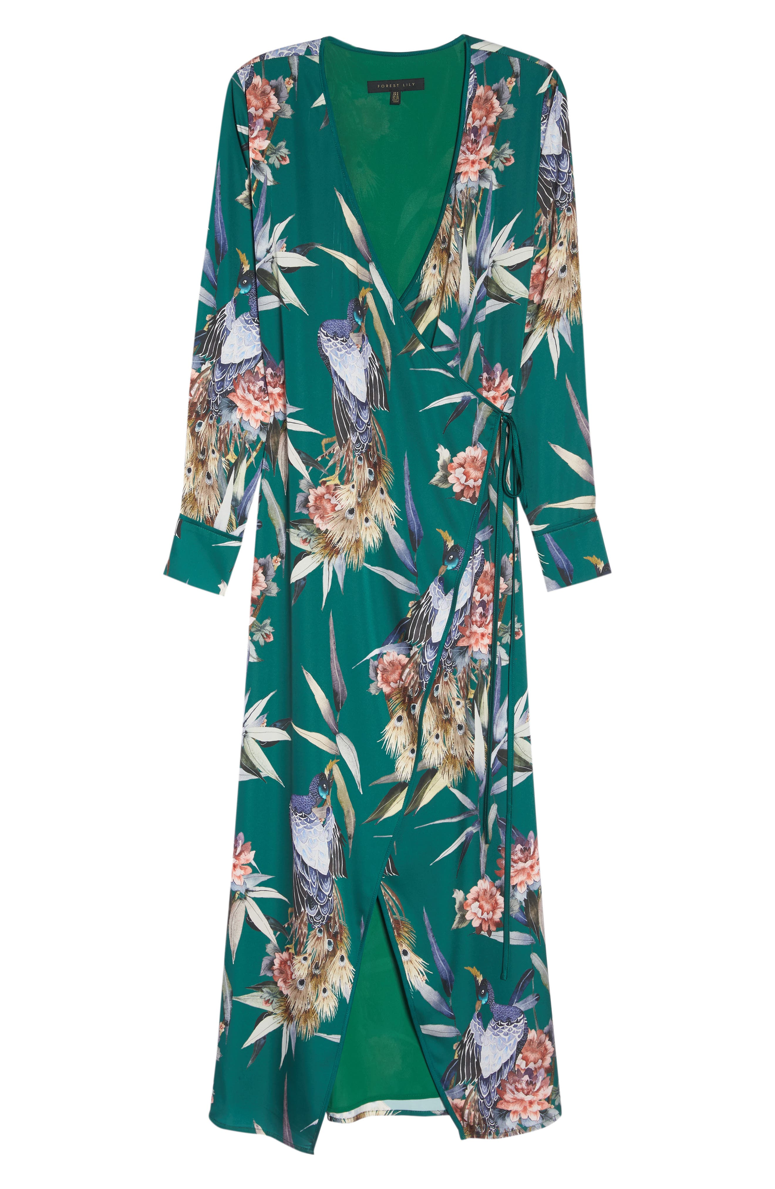 FOREST LILY,                             Floral Print Wrap Dress,                             Alternate thumbnail 7, color,                             EVERGREEN COMBO
