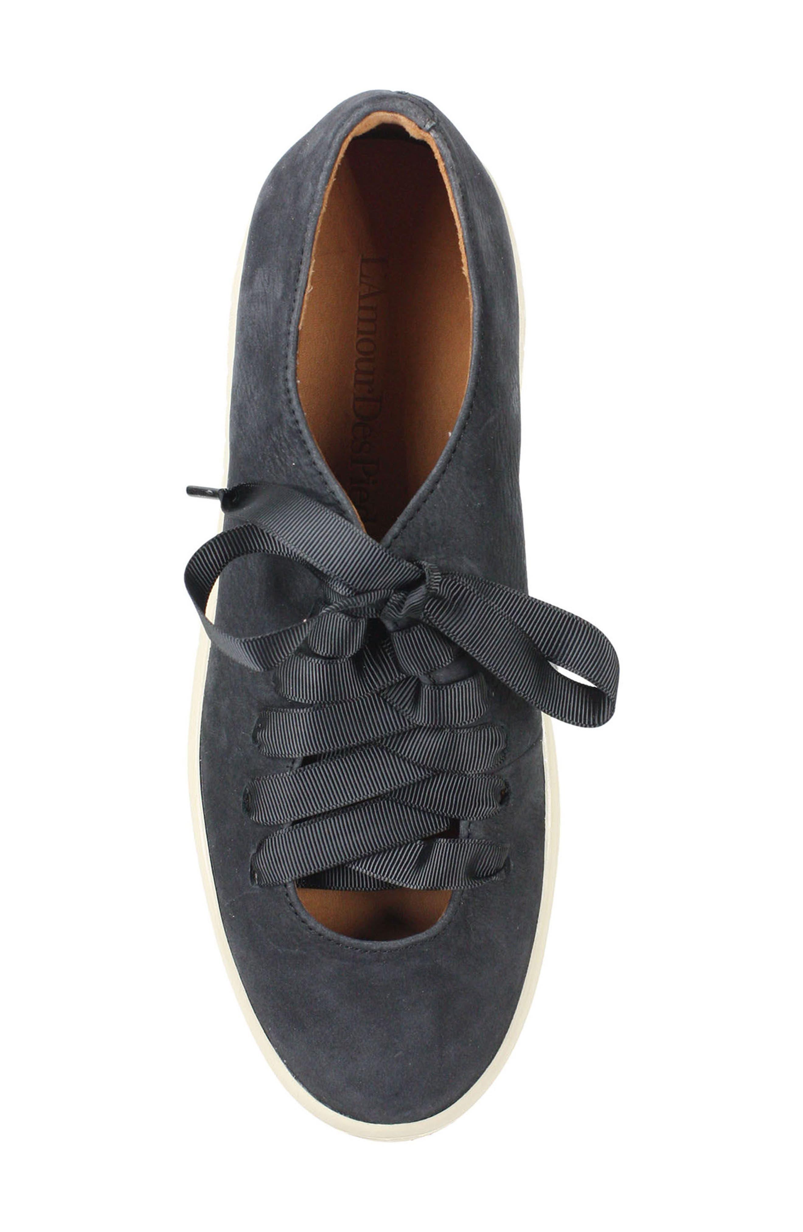 Zaheera Sneaker,                             Alternate thumbnail 5, color,                             BLACK NUBUCK LEATHER