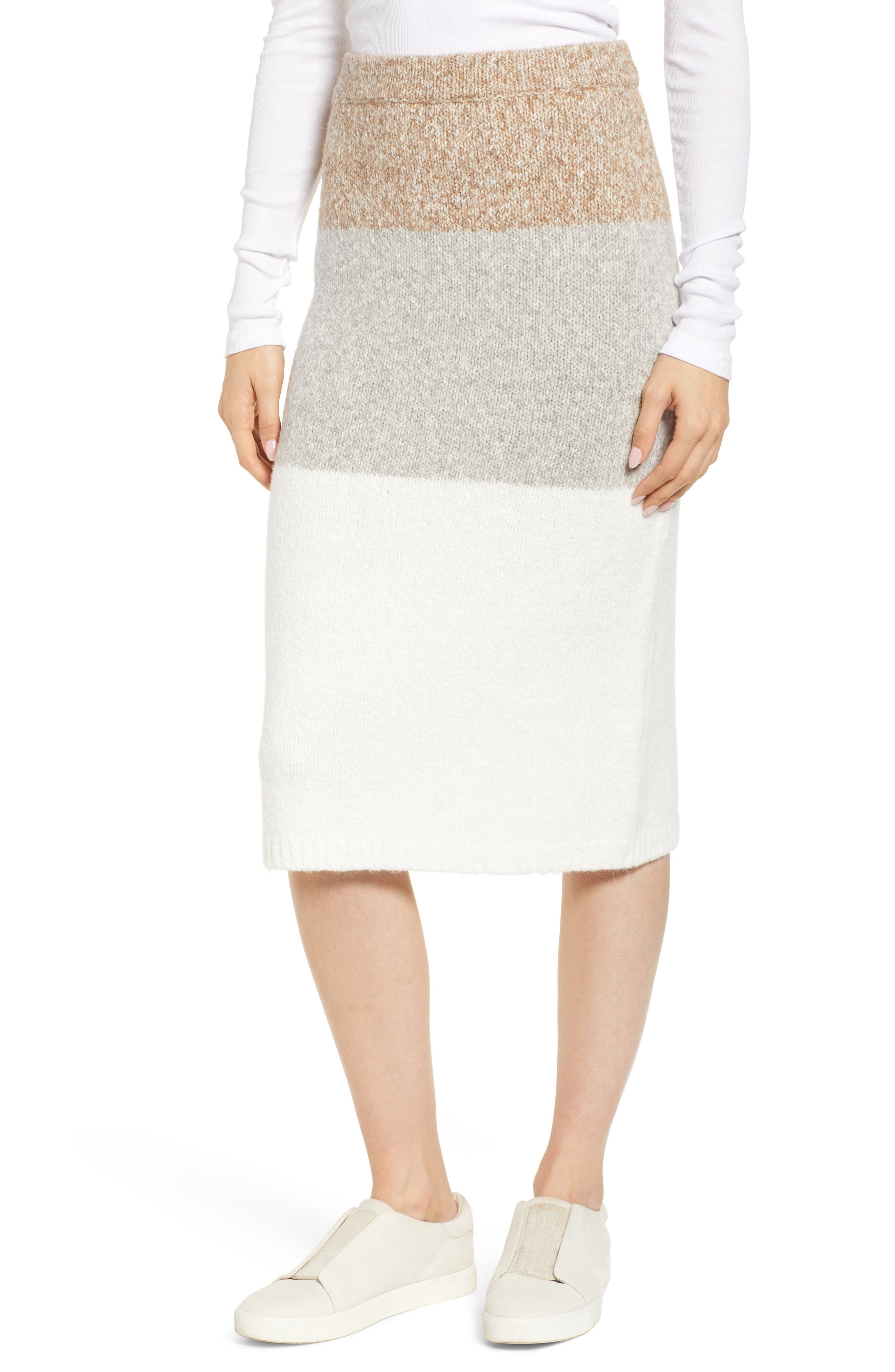 LOU & GREY Stripemarl Sweater Skirt, Main, color, IVORY