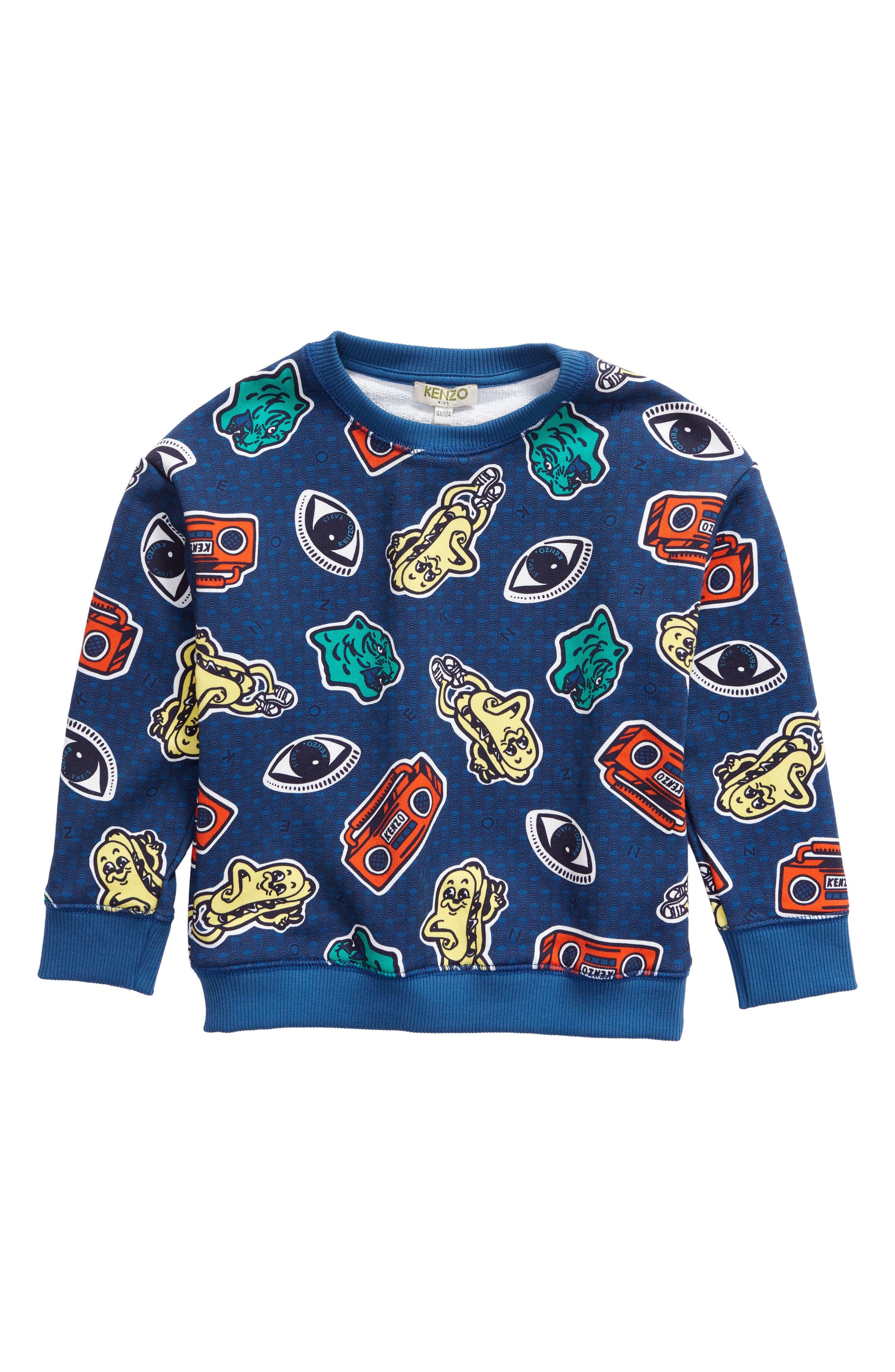 KENZO Print Sweatshirt, Main, color, DARK BLUE