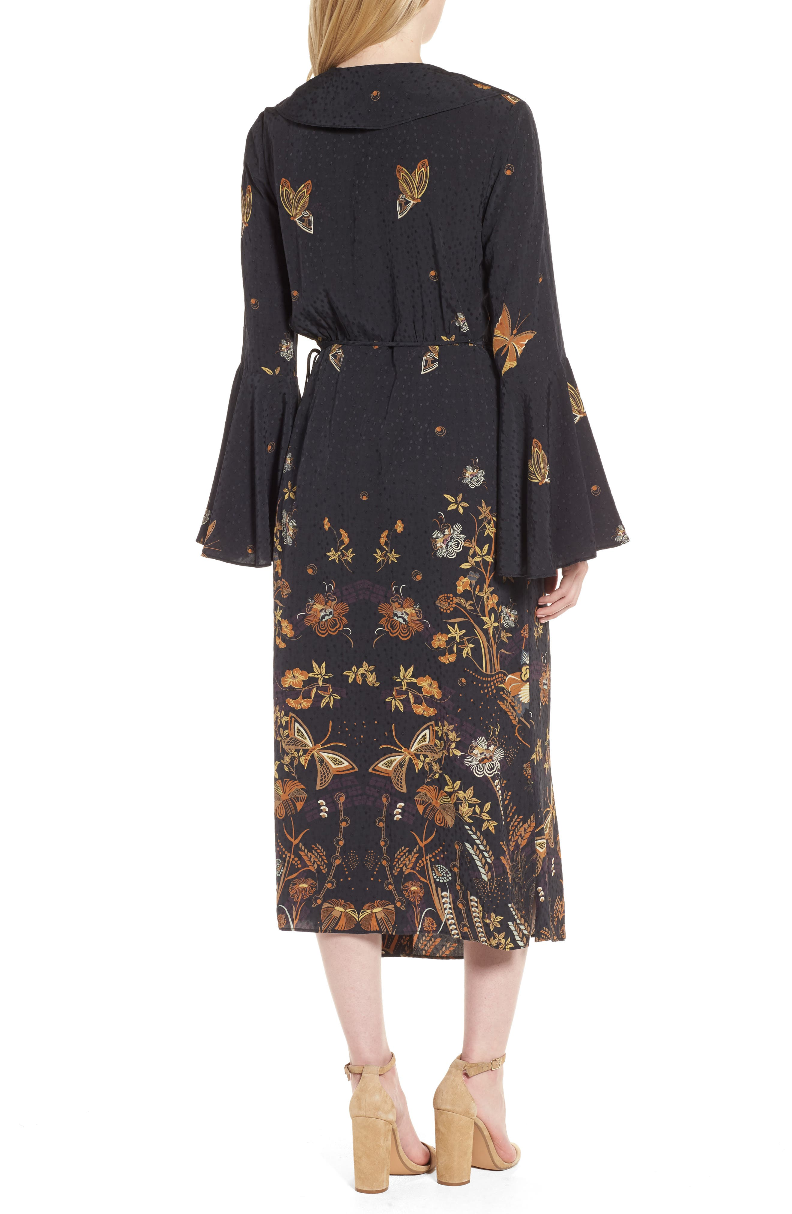 Jacquard Midi Wrap Dress,                             Alternate thumbnail 2, color,                             001