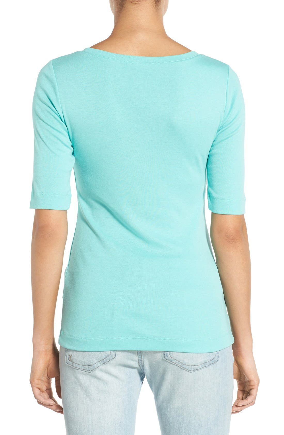 Ballet Neck Cotton & Modal Knit Elbow Sleeve Tee,                             Alternate thumbnail 139, color,