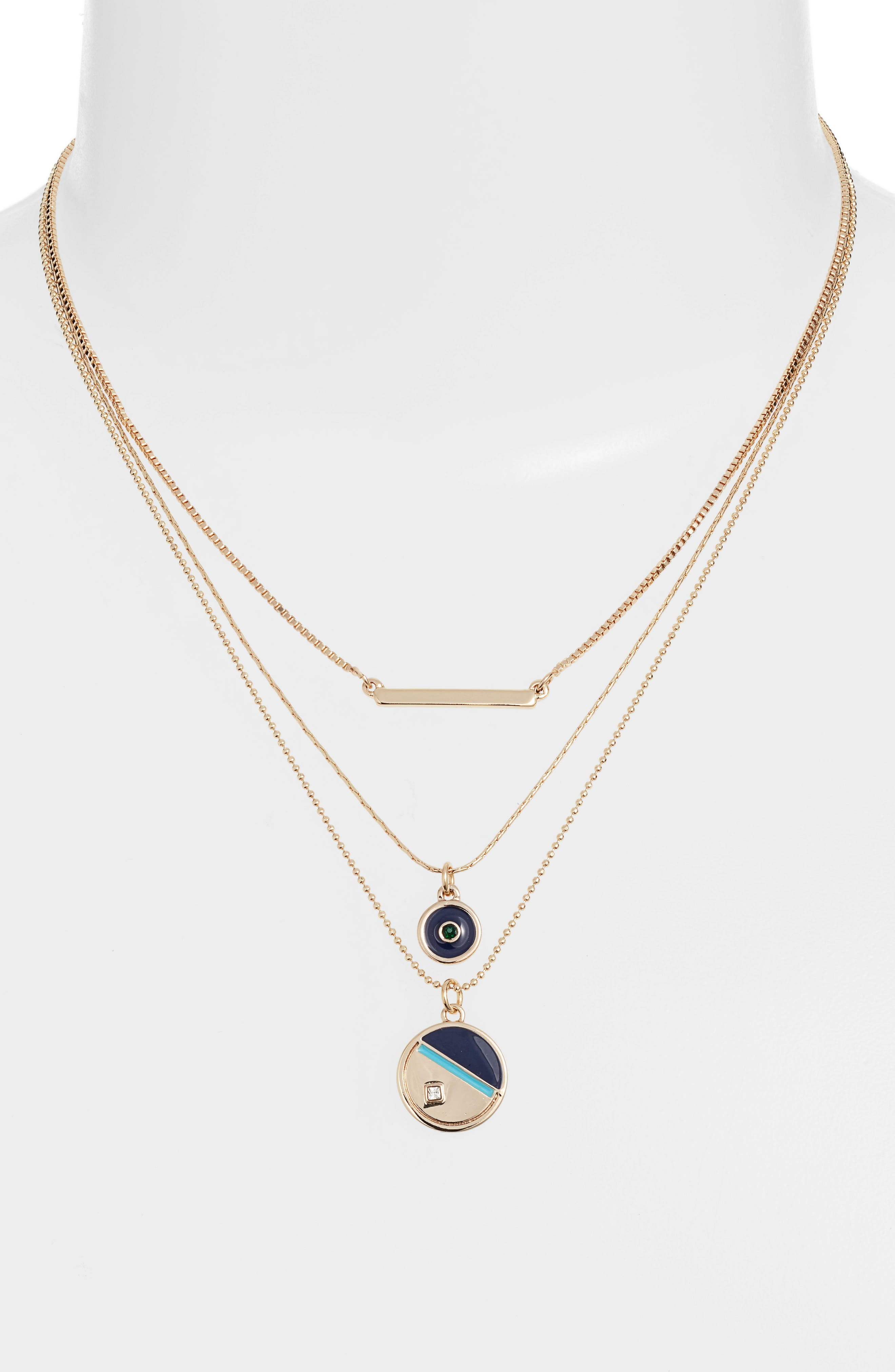 3-Tier Disc Necklace,                             Alternate thumbnail 2, color,                             TURQUOISE- NAVY- GOLD