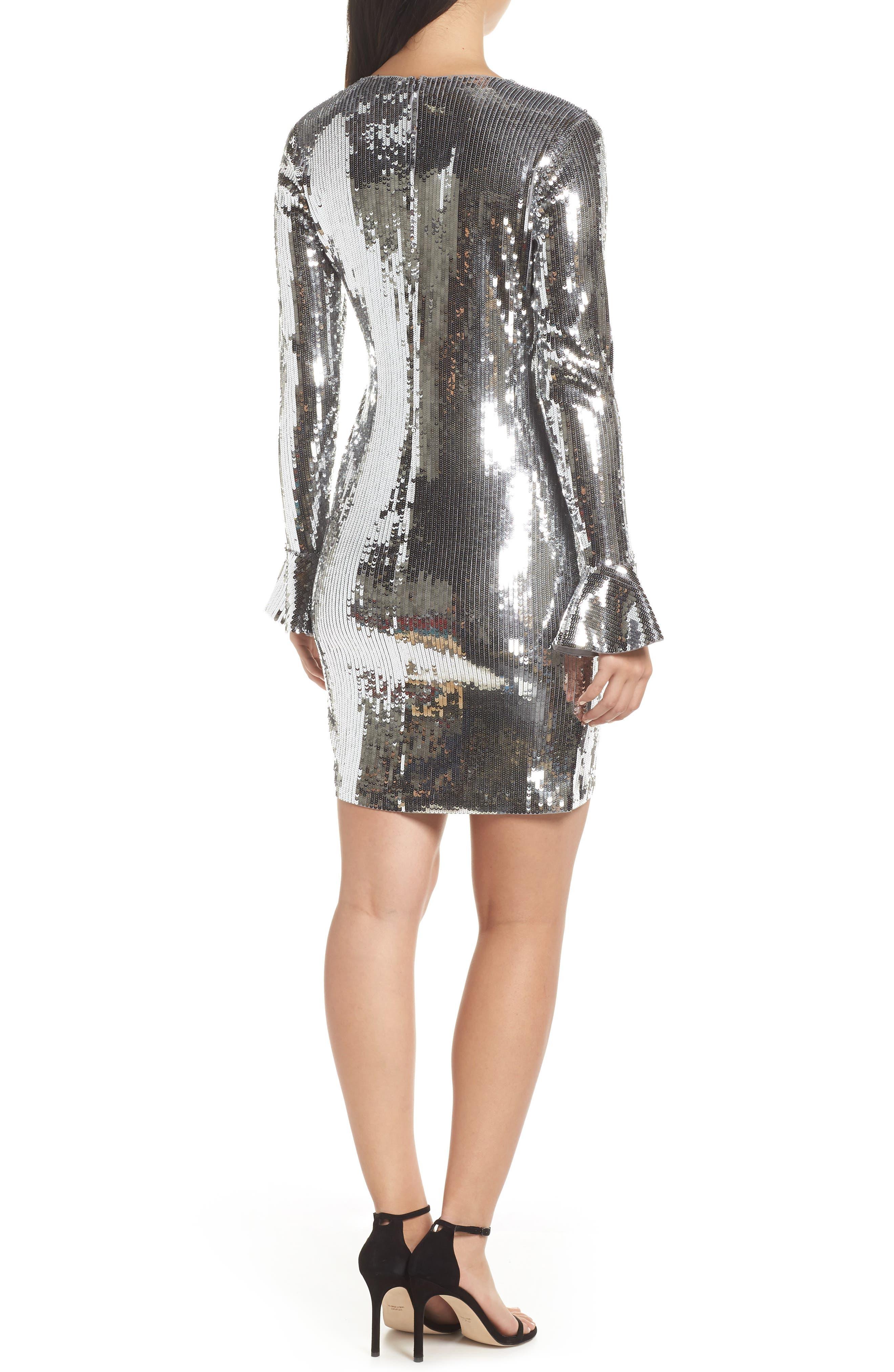 Sequin Ruffle Cuff Dress,                             Alternate thumbnail 2, color,                             CONCRETE