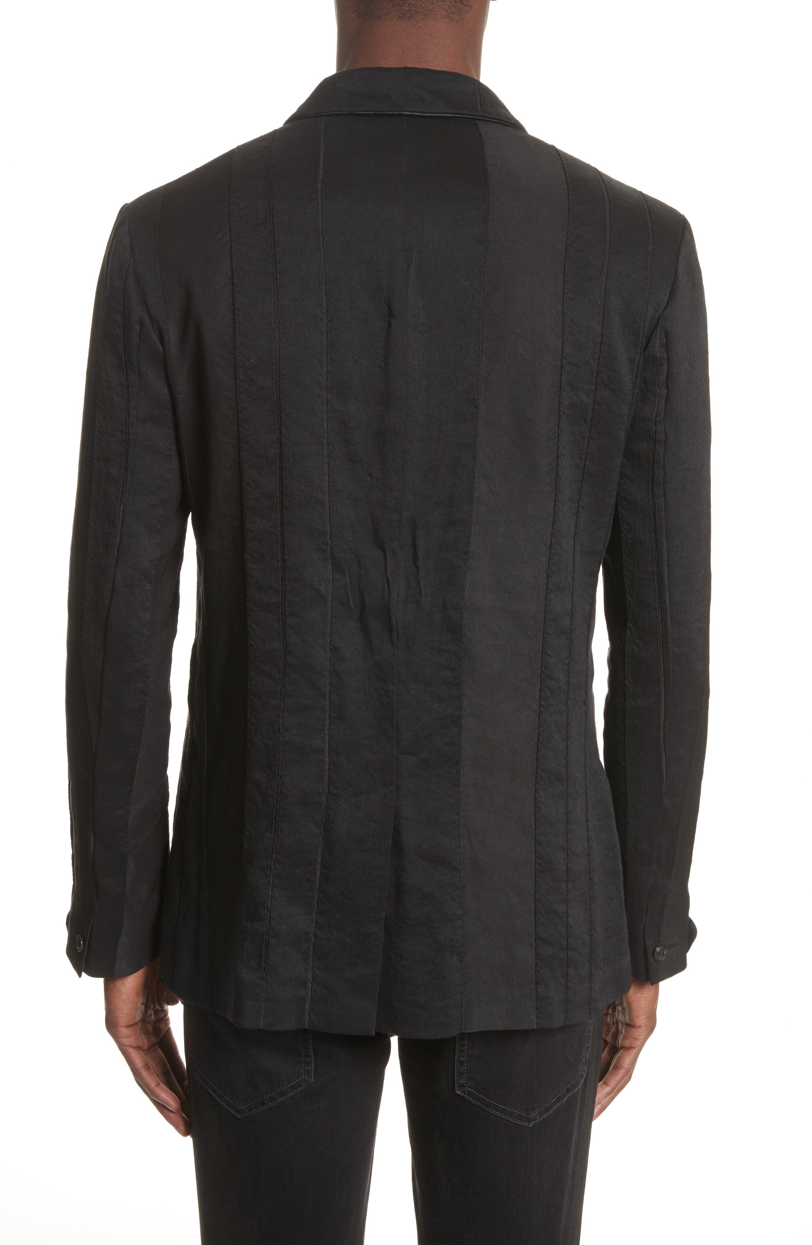 Slim Fit Linen Blend Blazer,                             Alternate thumbnail 2, color,                             BLACK