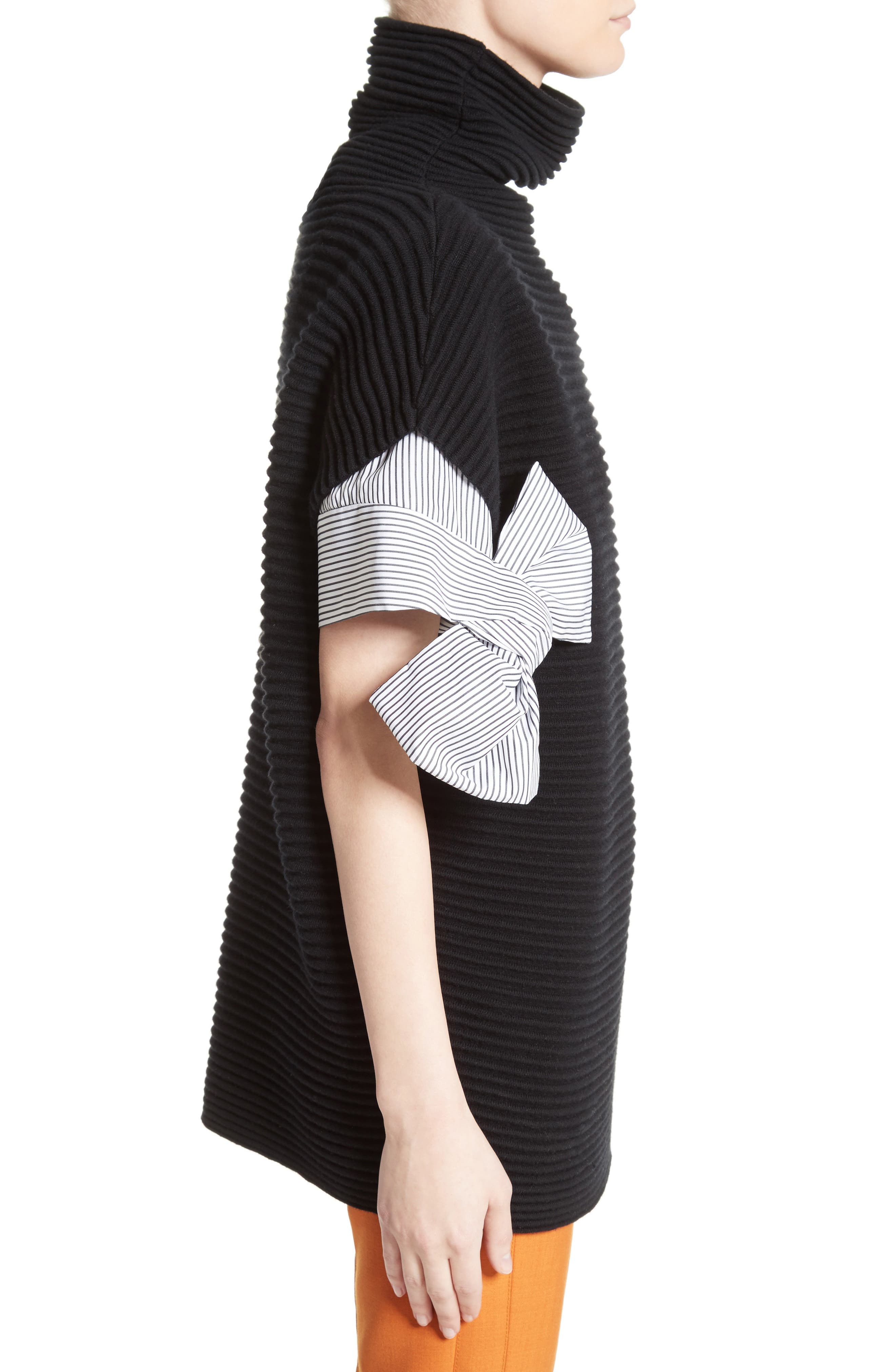 Bow Sleeve Funnel Neck Sweater,                             Alternate thumbnail 3, color,                             001