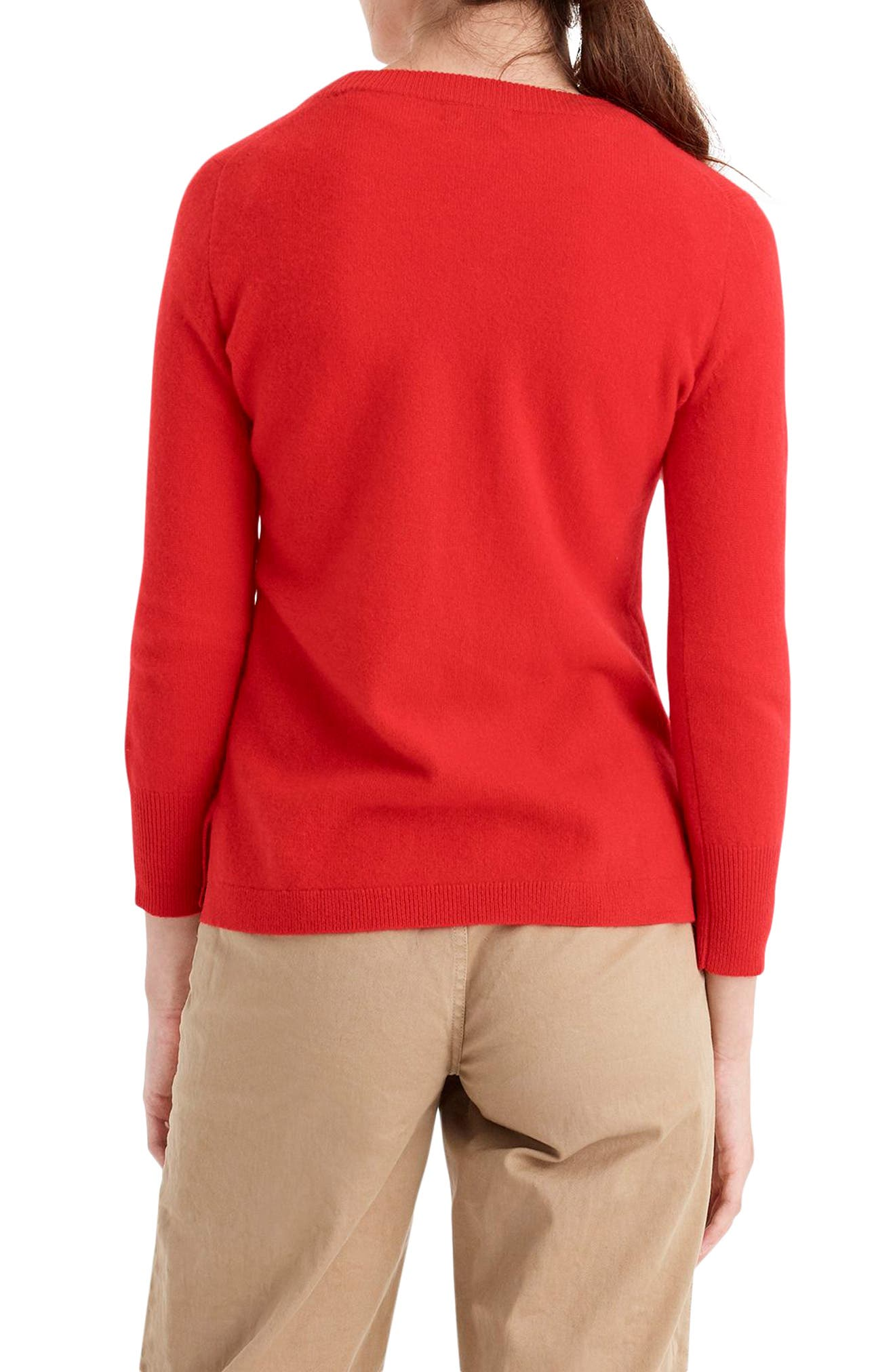 Leopard Heart Everyday Cashmere Sweater,                             Alternate thumbnail 3, color,                             600