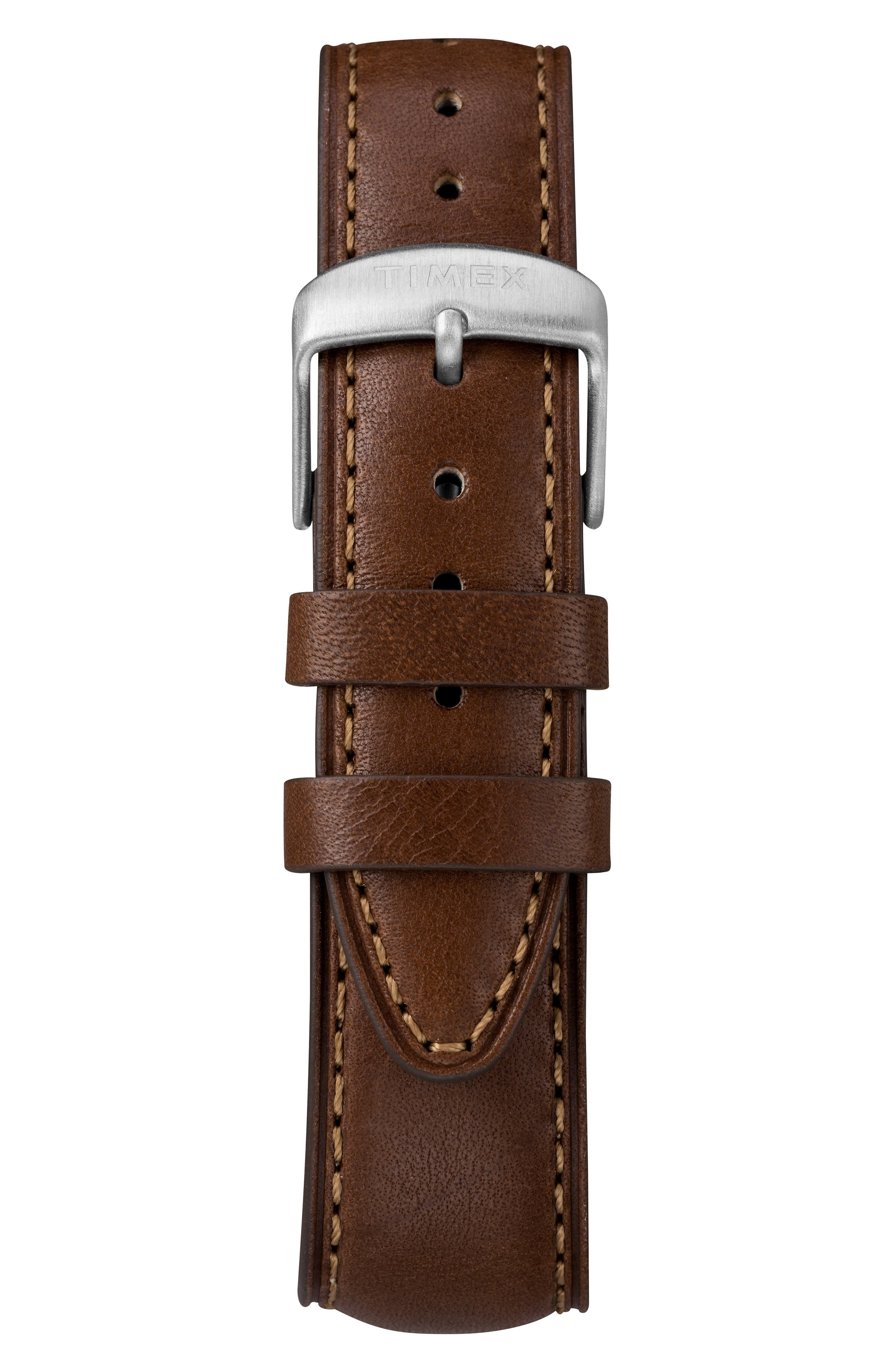 Waterbury Leather Band Watch, 42mm,                             Alternate thumbnail 2, color,                             BROWN/ BLACK/ SILVER