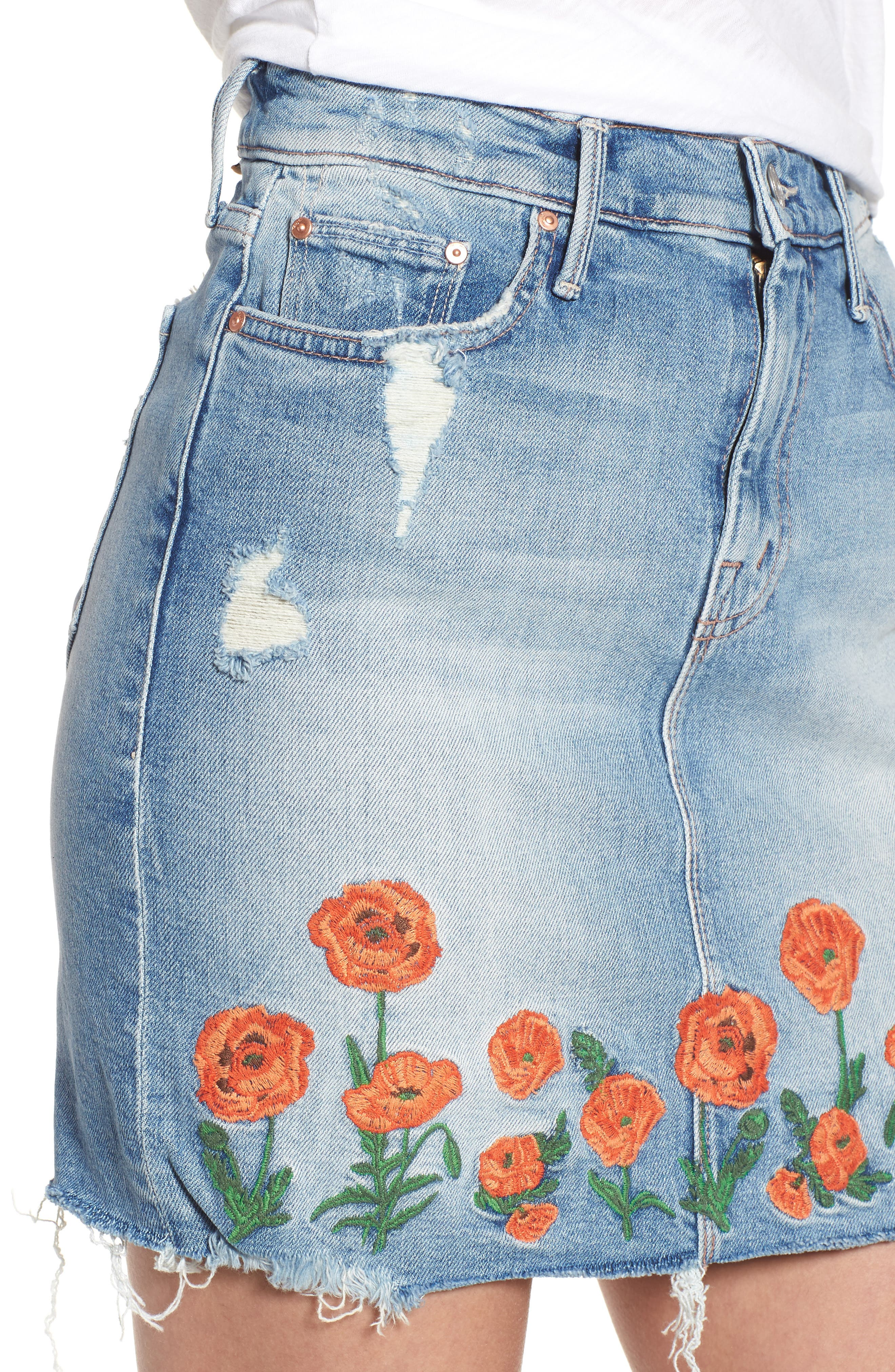 High Waist Fray Straight Denim Miniskirt,                             Alternate thumbnail 4, color,