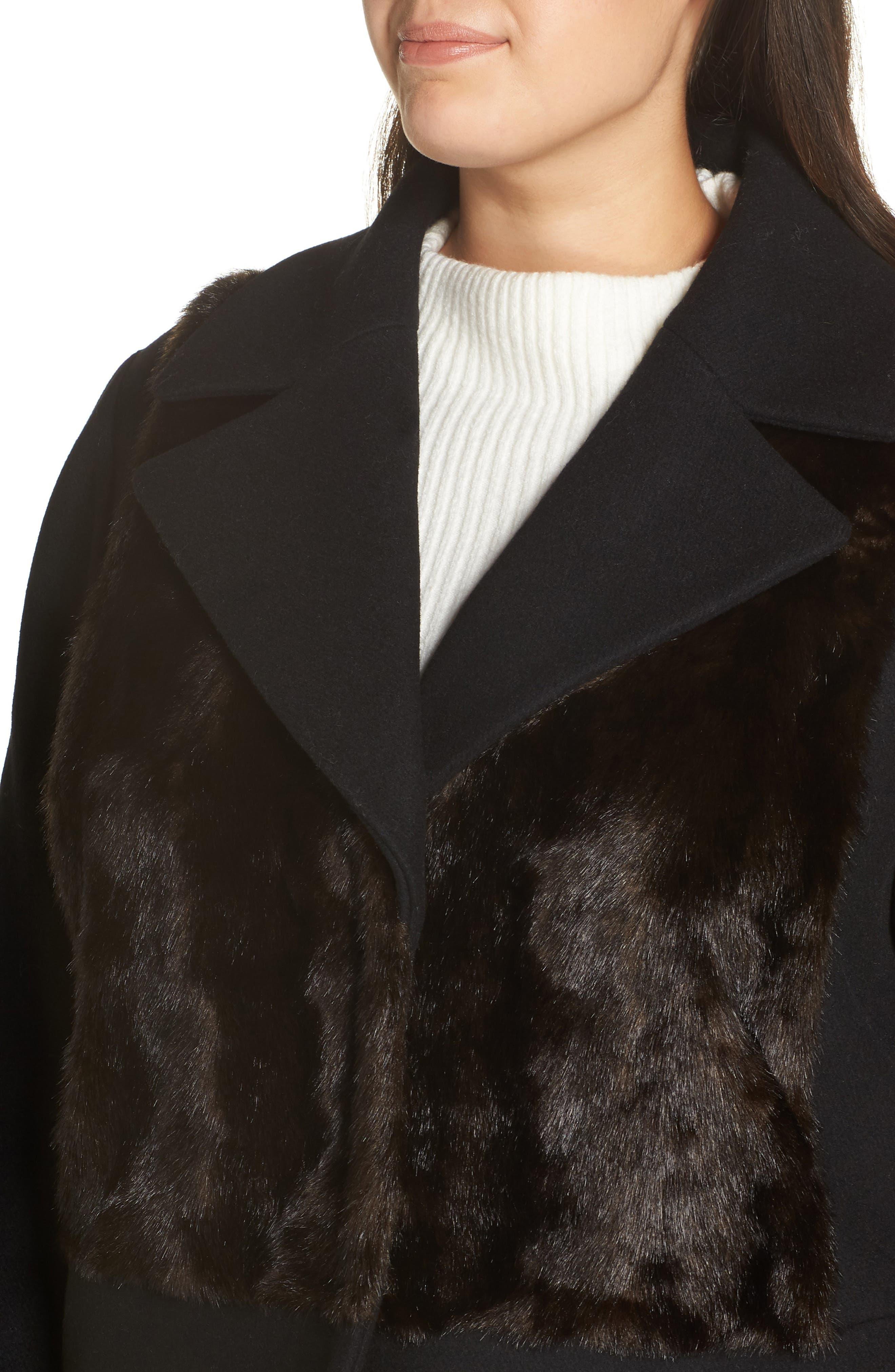 Faux Fur Panel Wool Blend Coat,                             Alternate thumbnail 4, color,                             BLACK