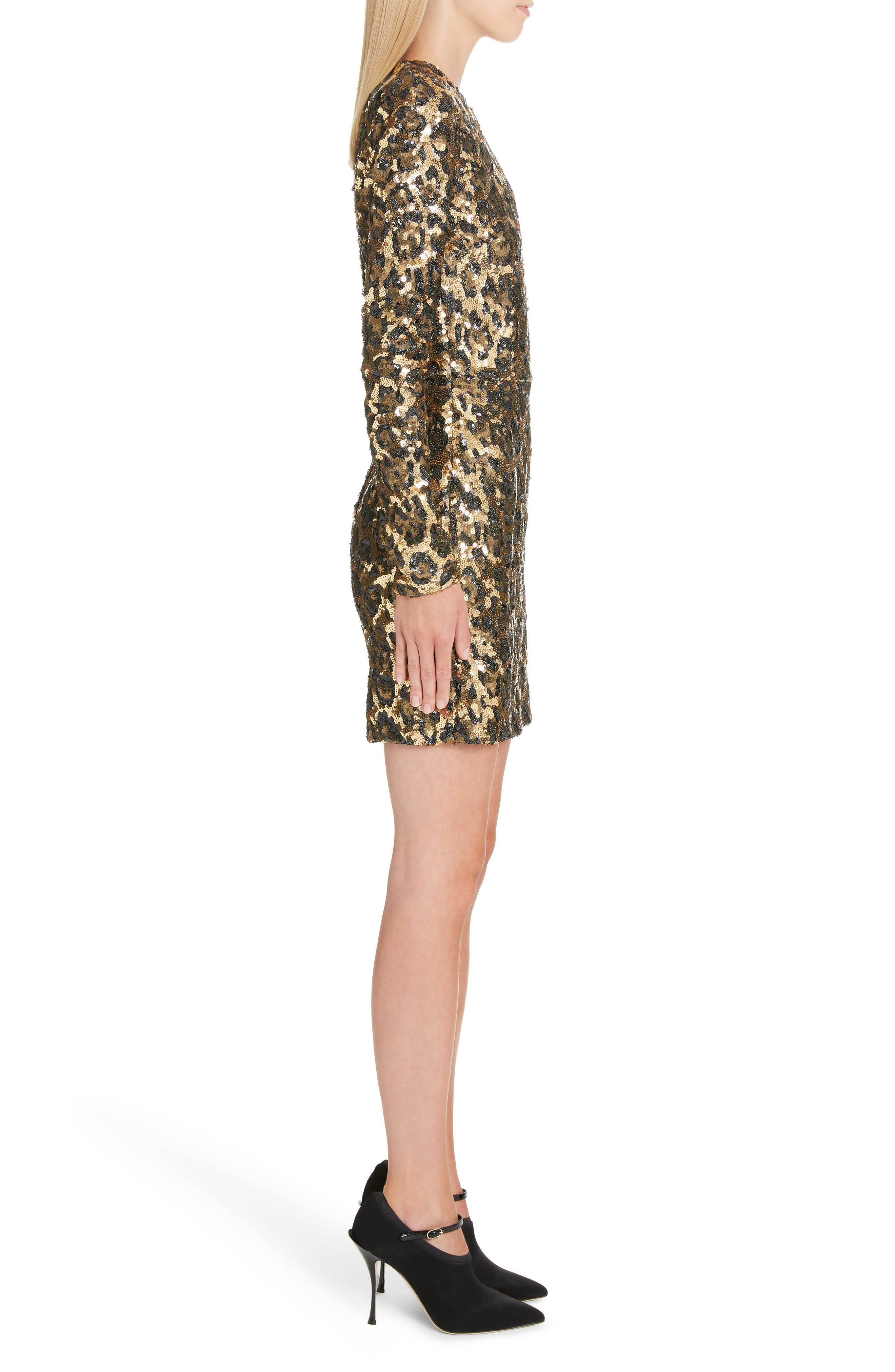Sequin Leopard Print Sheath Dress,                             Alternate thumbnail 3, color,                             S0905 LEO