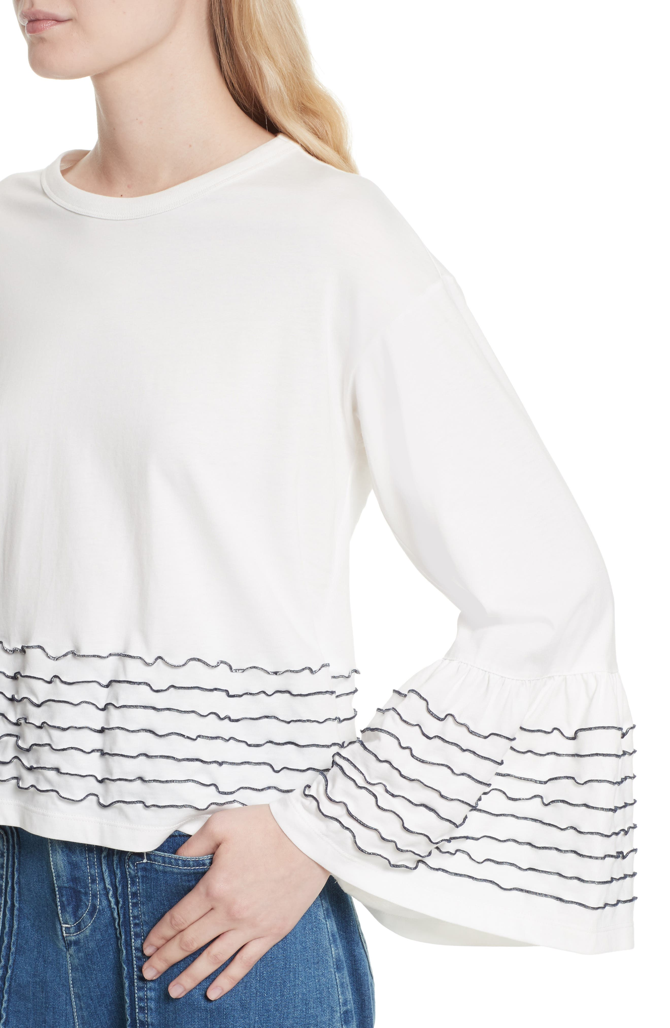 Stitched Cotton Top,                             Alternate thumbnail 4, color,