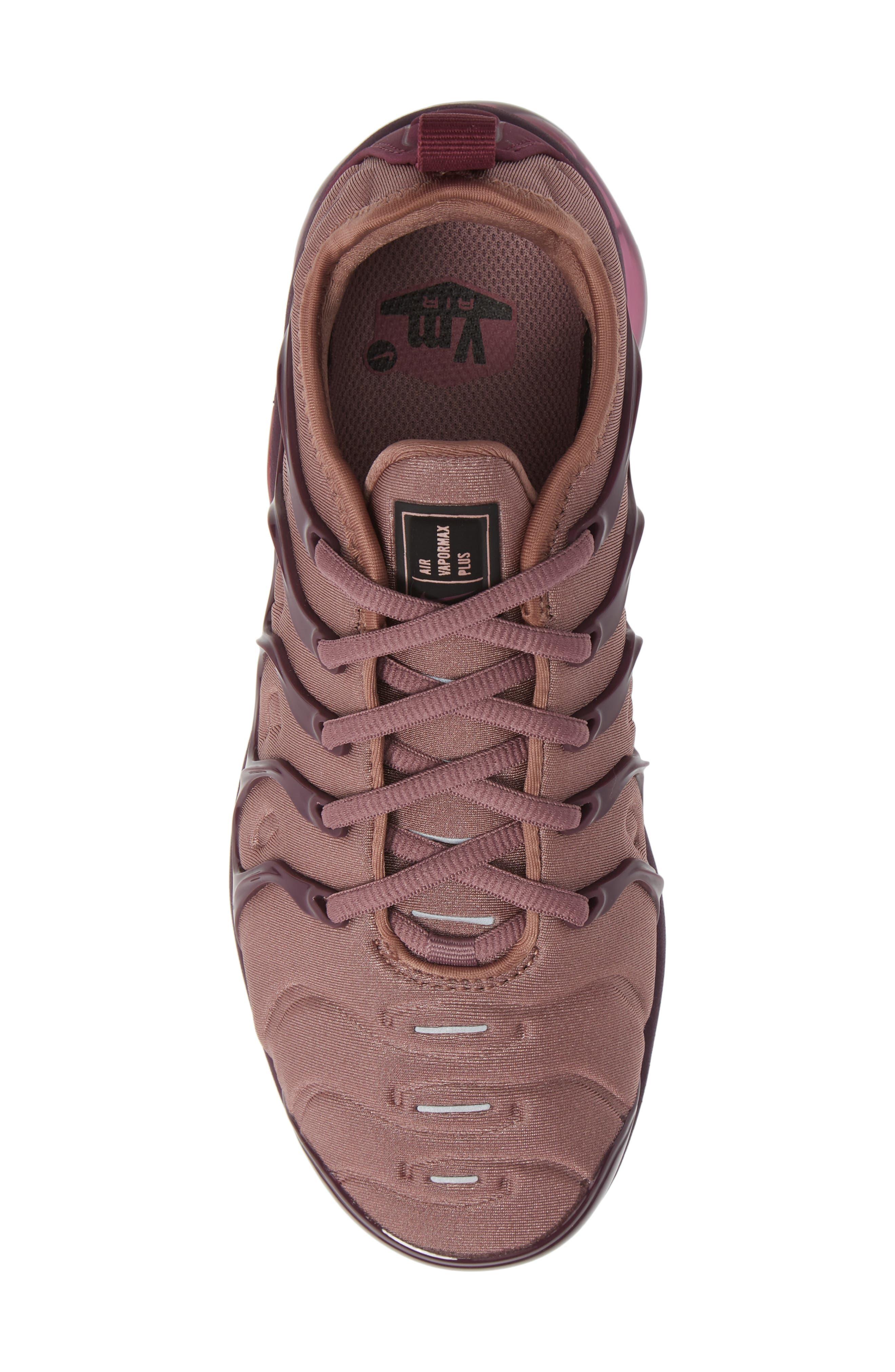 Air VaporMax Plus Sneaker,                             Alternate thumbnail 5, color,                             MAUVE/ BORDEAUX/ WINE/ BLACK