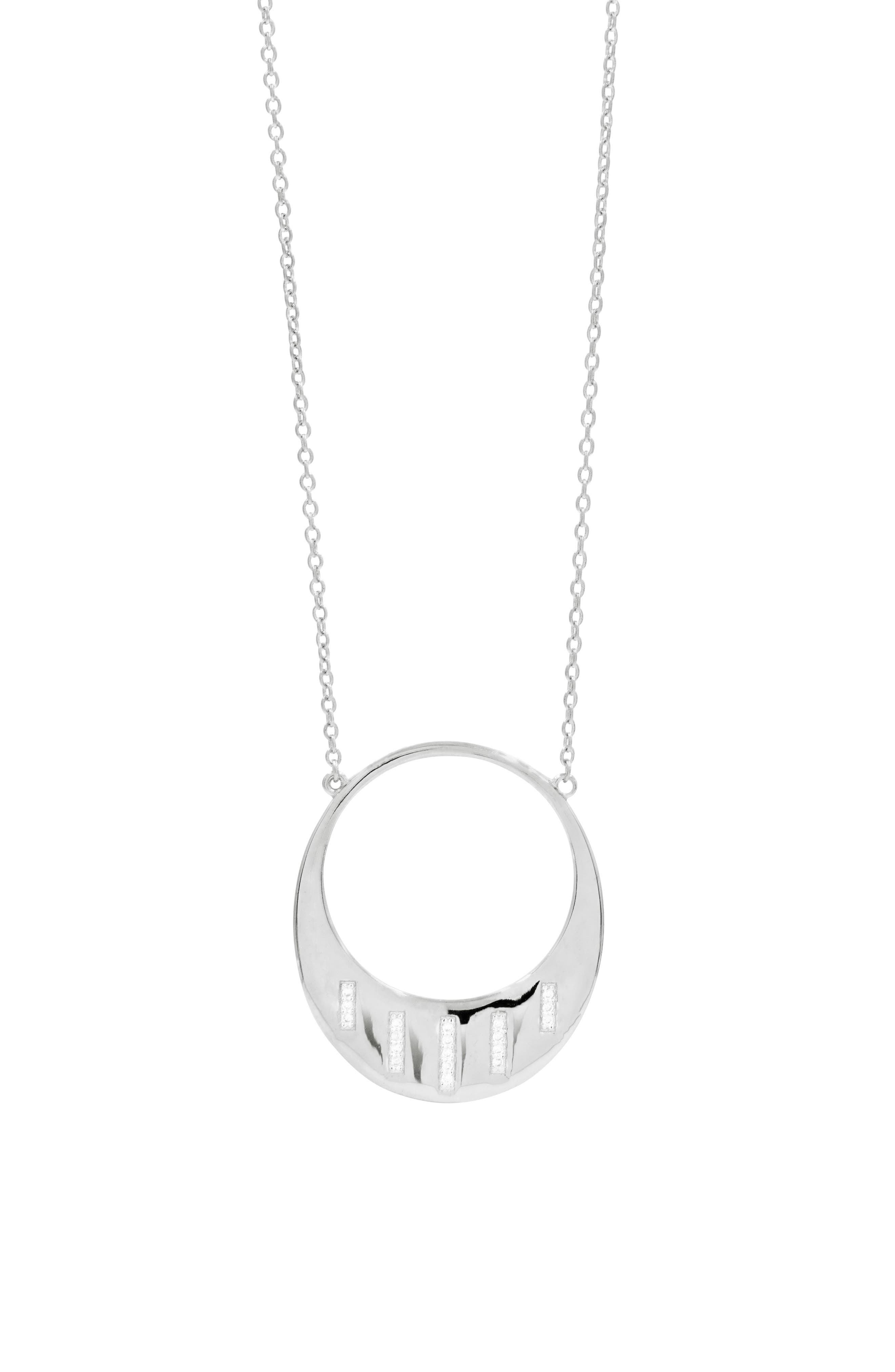 Radiance Open Pendant Necklace,                         Main,                         color, SILVER
