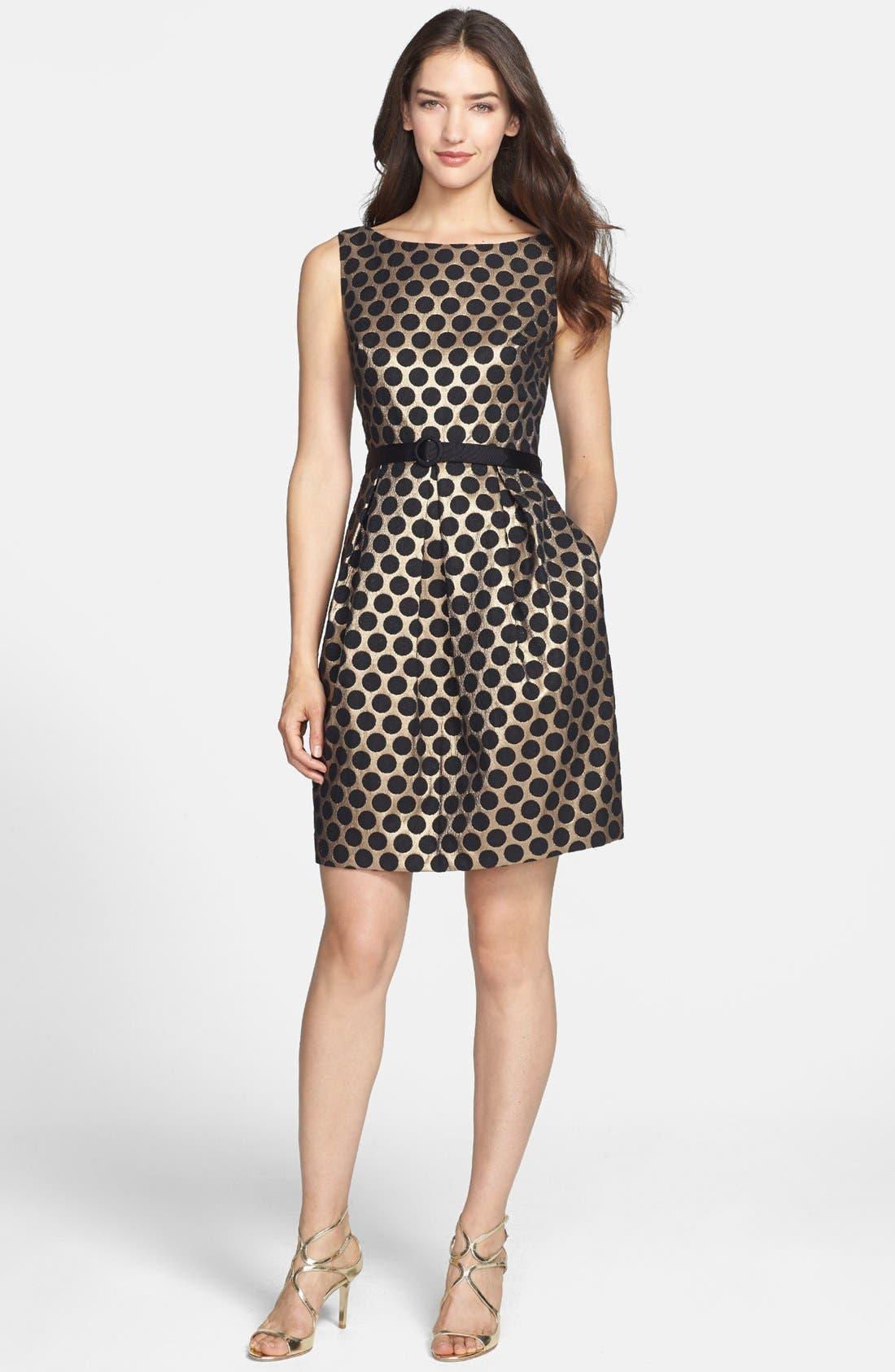 ELIZA J Dot Jacquard Fit & Flare Dress, Main, color, 717