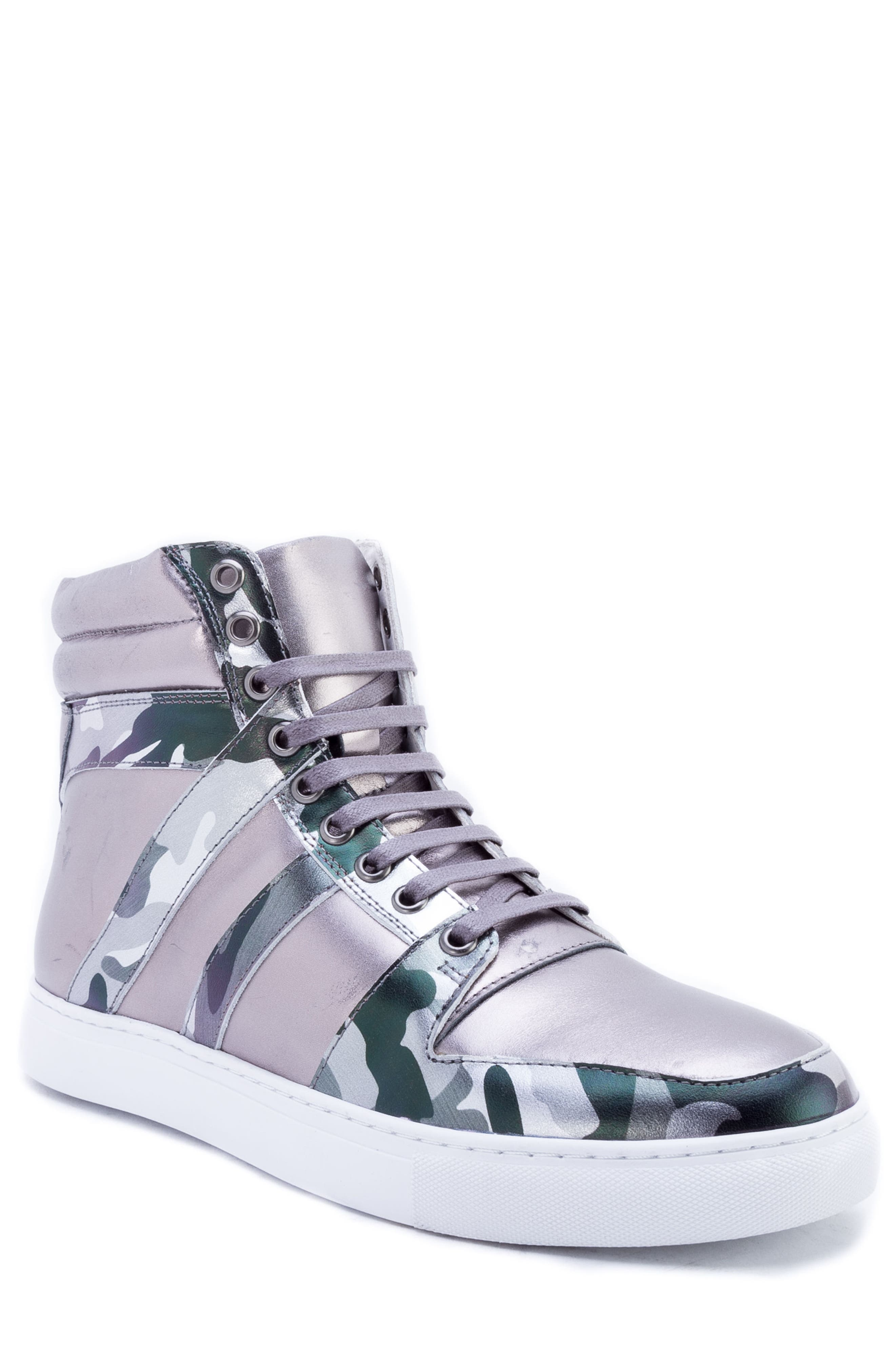 Badgley Mischka Sutherland Sneaker,                         Main,                         color, GREY LEATHER