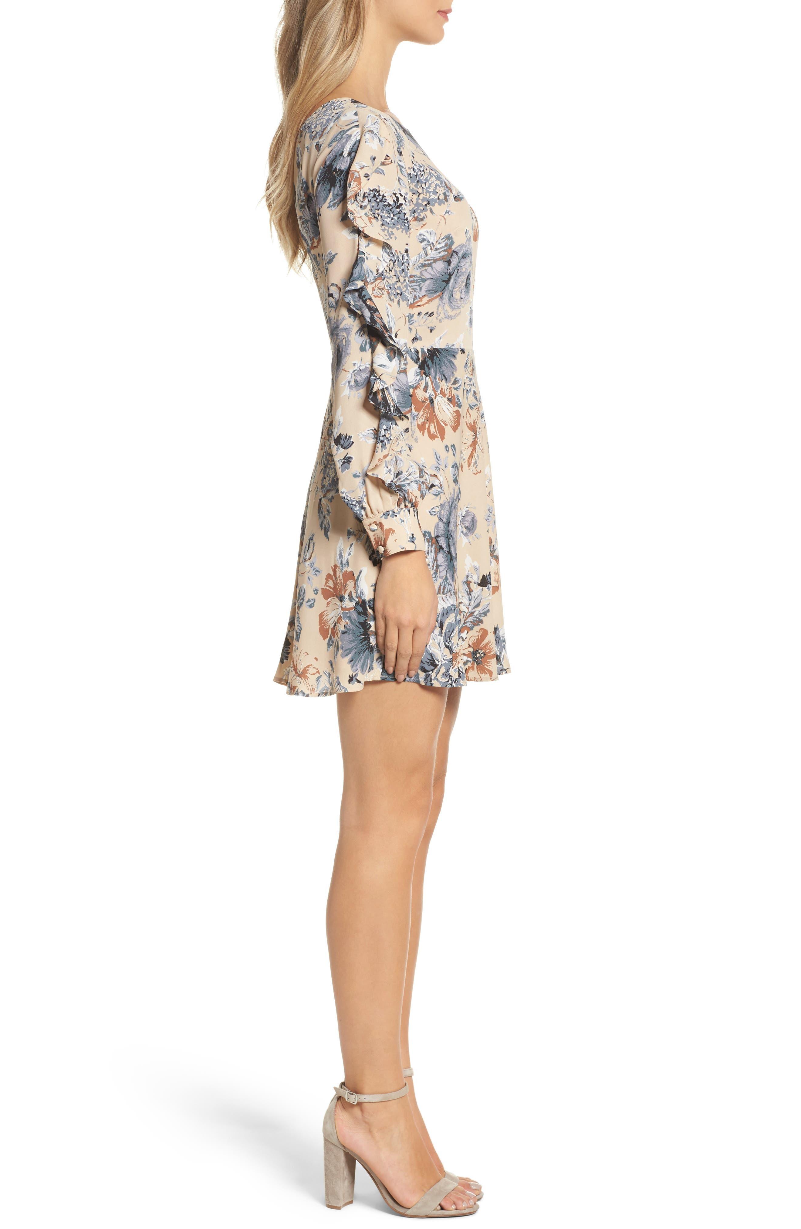 Merci Floral Fit & Flare Dress,                             Alternate thumbnail 3, color,                             264