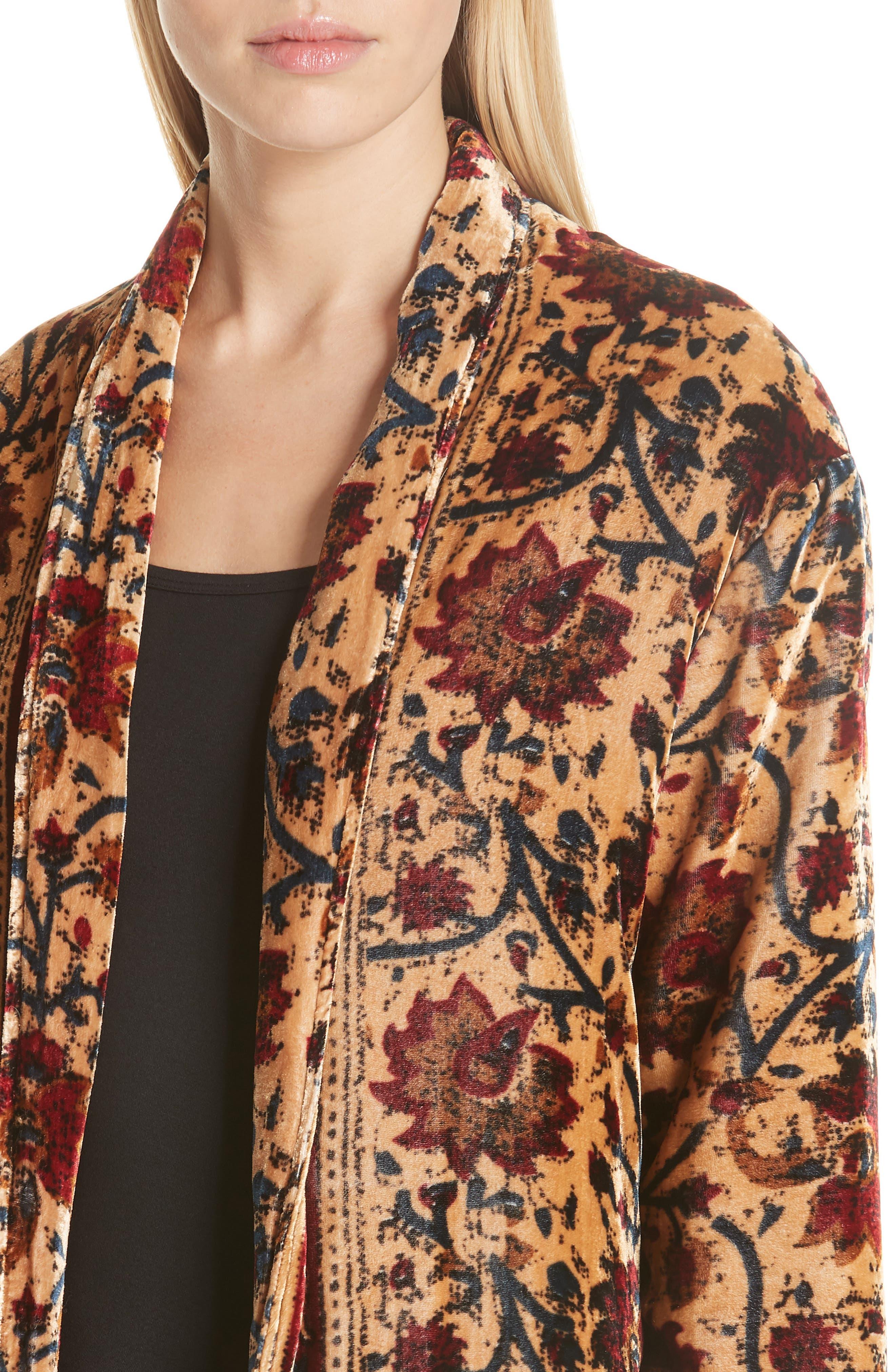 Charles Floral Cotton Velvet Jacket,                             Alternate thumbnail 4, color,                             291