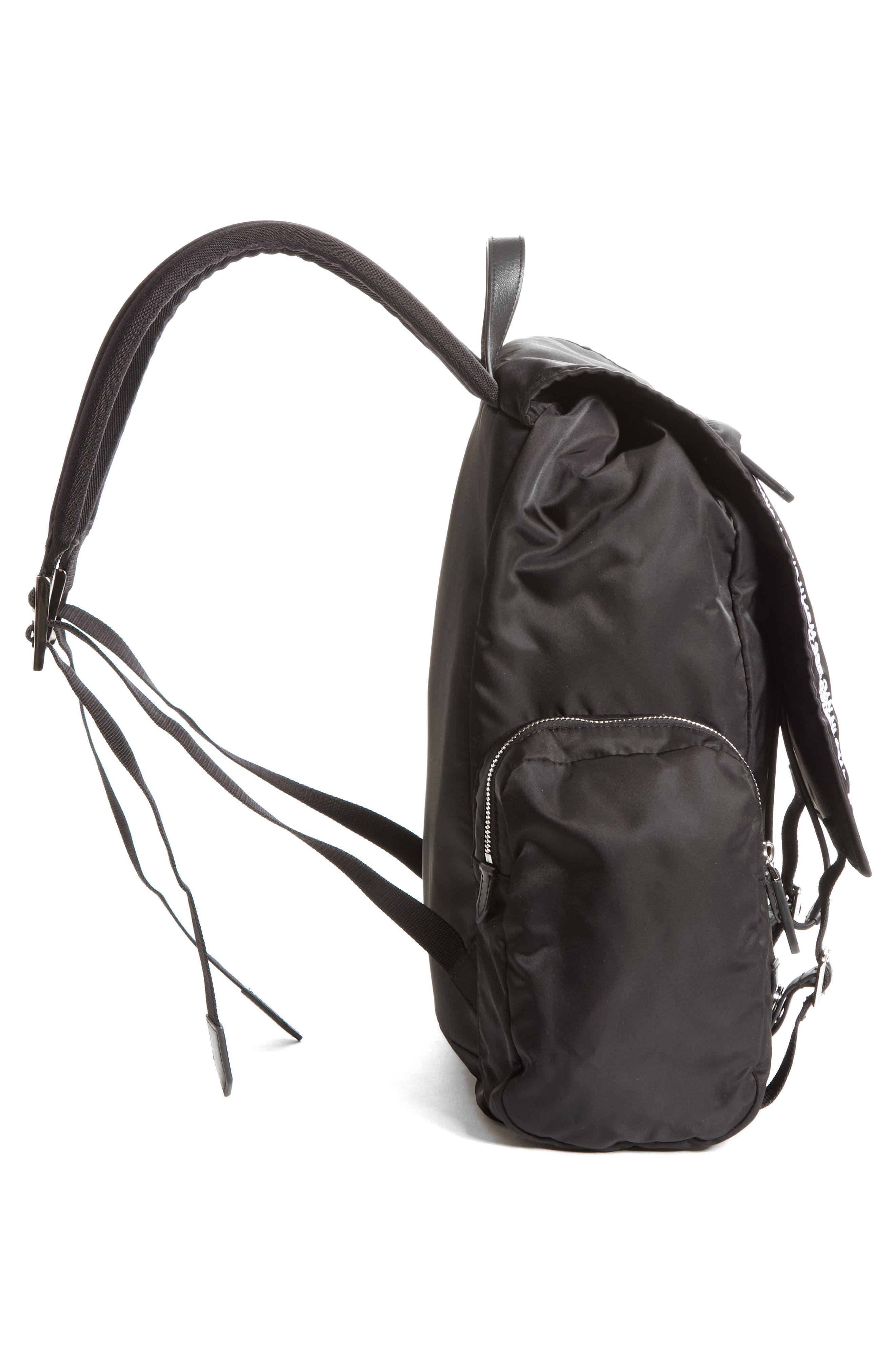 Nylon Flap Backpack,                             Alternate thumbnail 5, color,                             BLACK