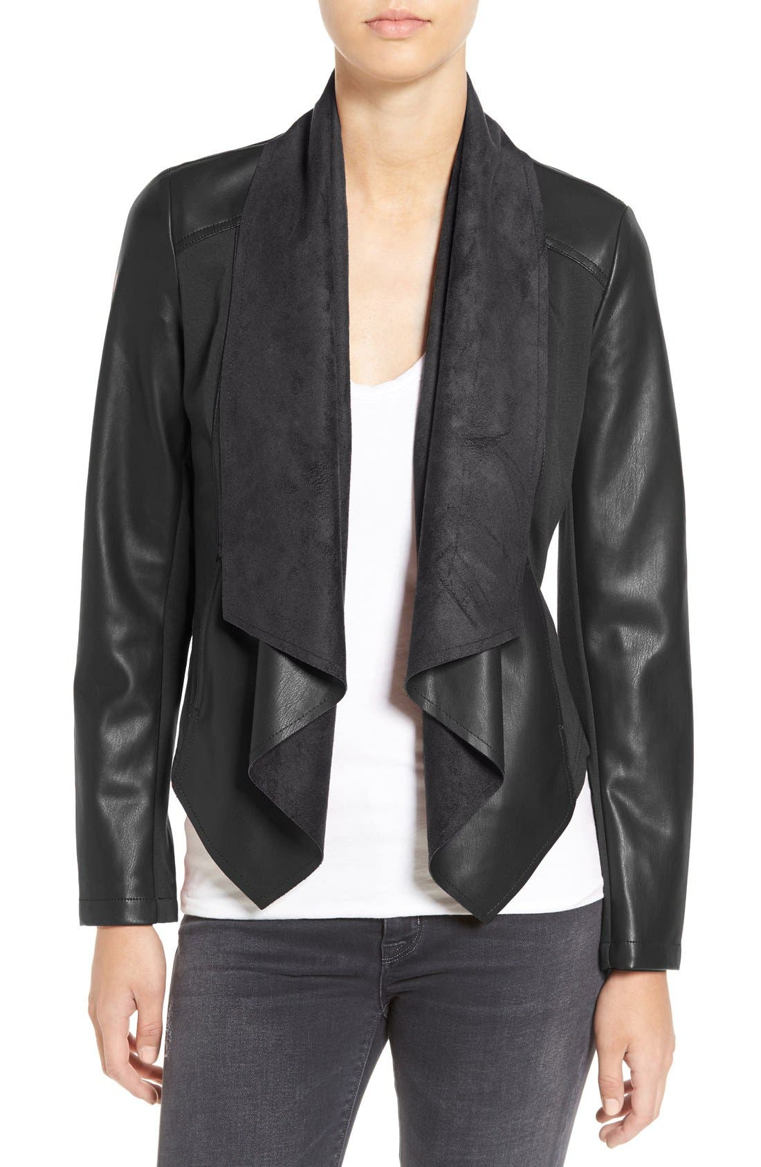 'Ana' Faux Leather Drape Front Jacket,                             Main thumbnail 1, color,                             BLACK