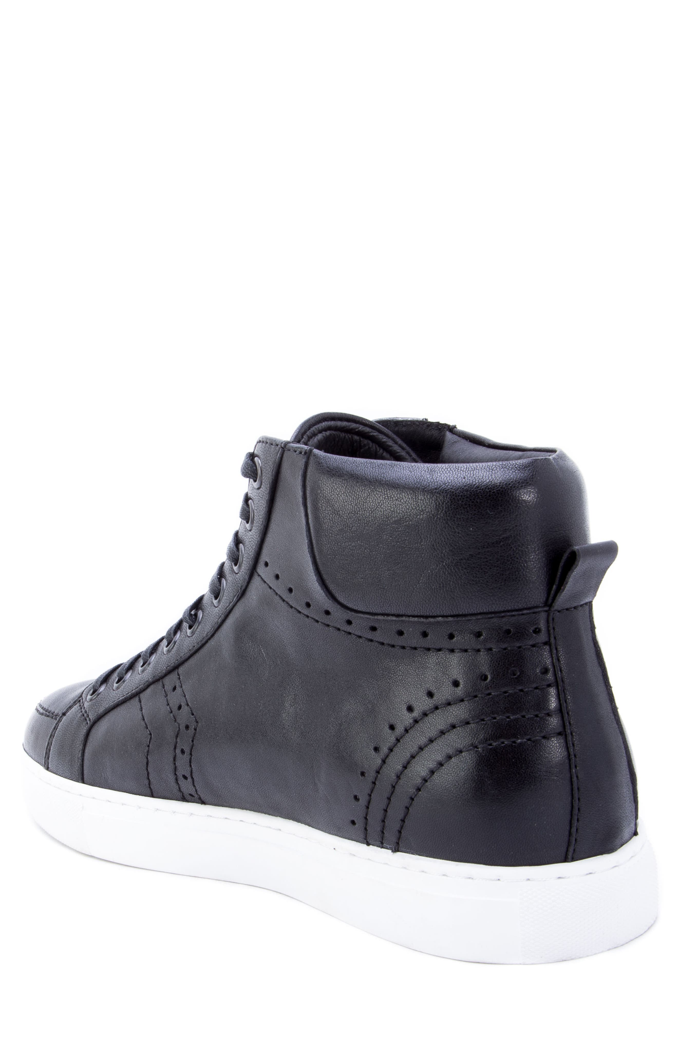 Uglow Perforated High Top Sneaker,                             Alternate thumbnail 2, color,                             BLACK LEATHER