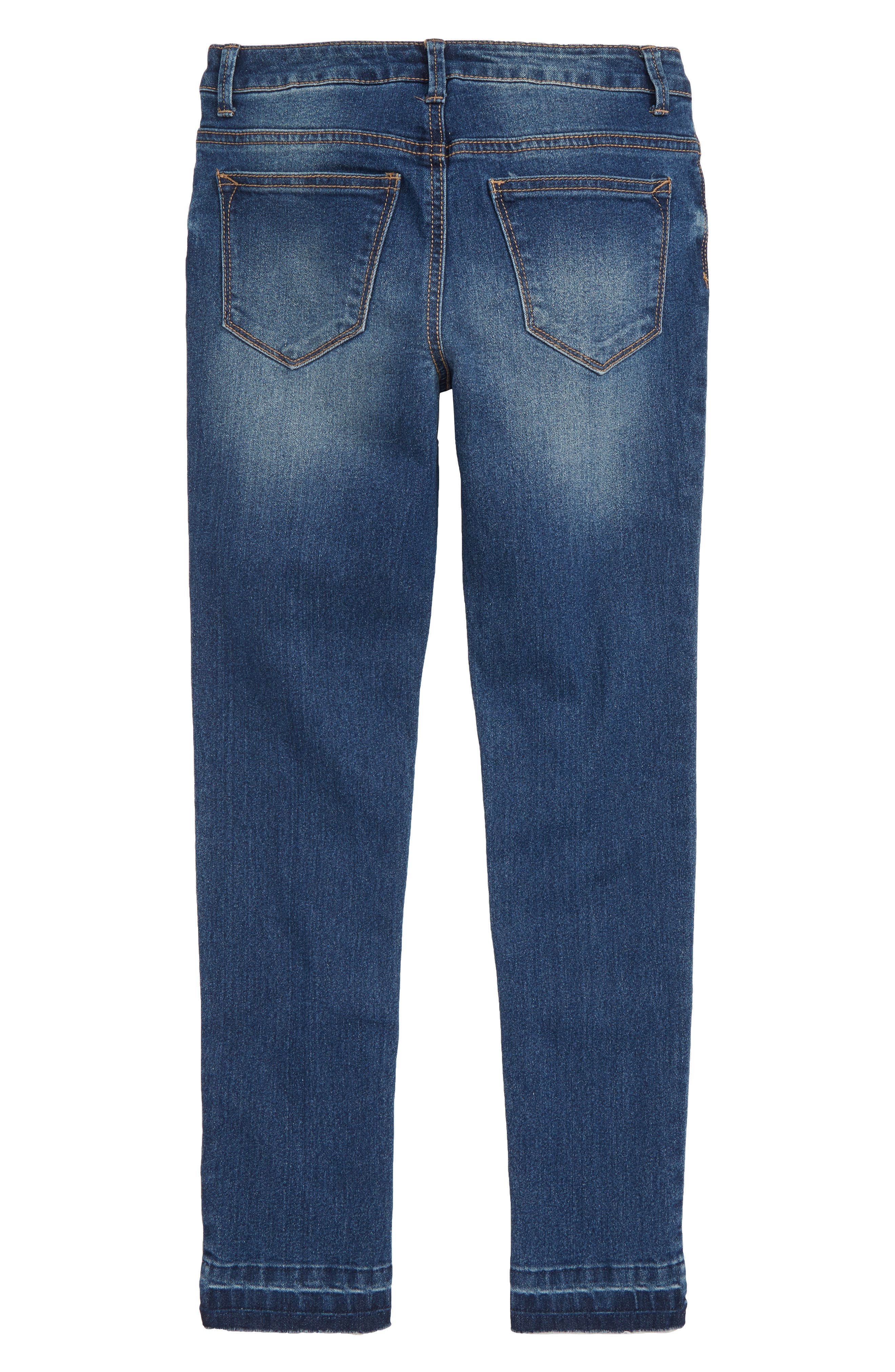 Star Appliqué Skinny Jeans,                             Alternate thumbnail 2, color,                             Blue