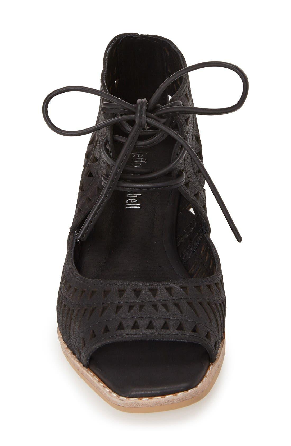 'Rodillo' Wedge Sandal,                             Alternate thumbnail 3, color,                             BLACK LEATHER
