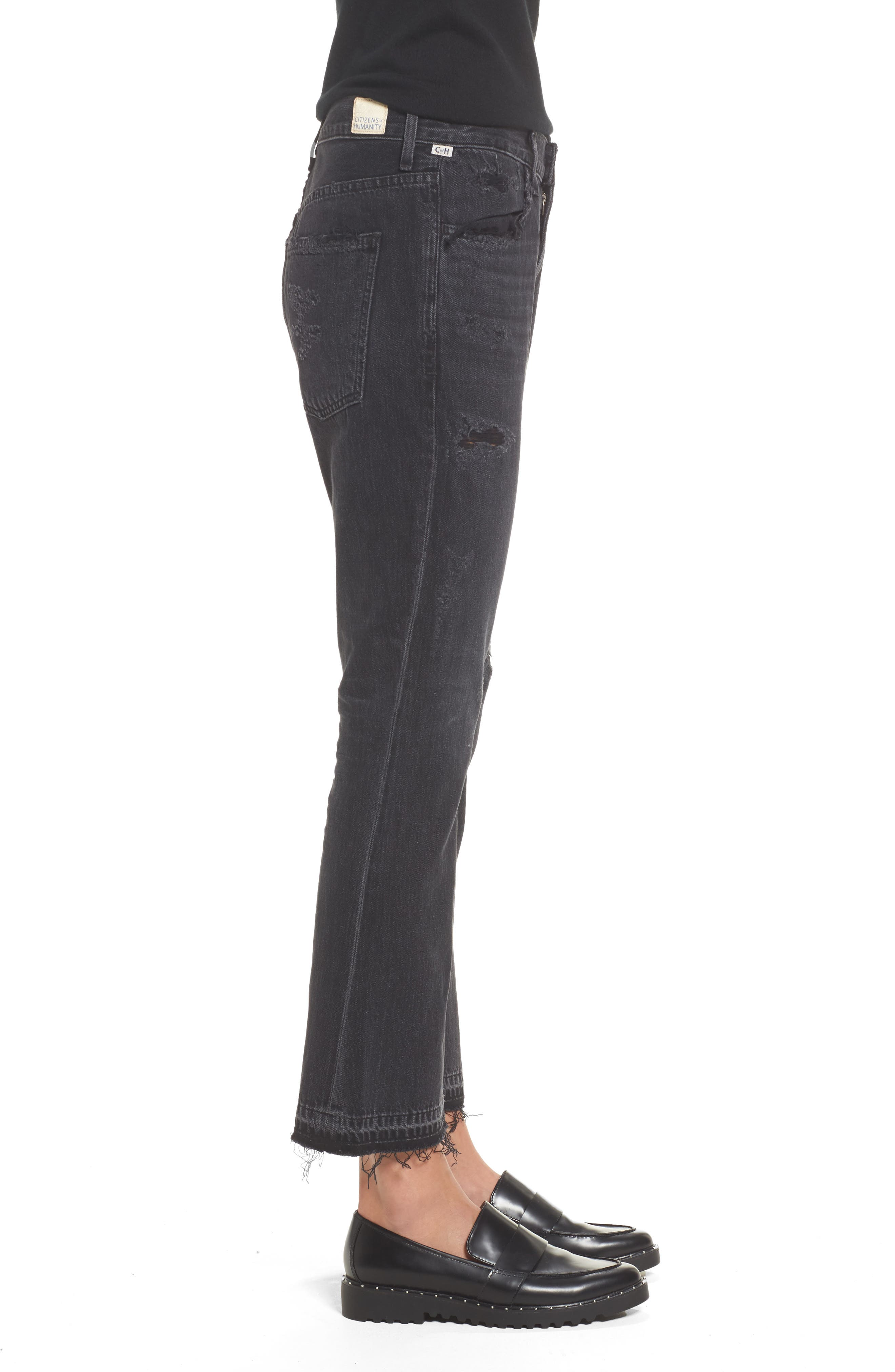 Sasha Twist Crop Jeans,                             Alternate thumbnail 3, color,                             BLACK HAWK