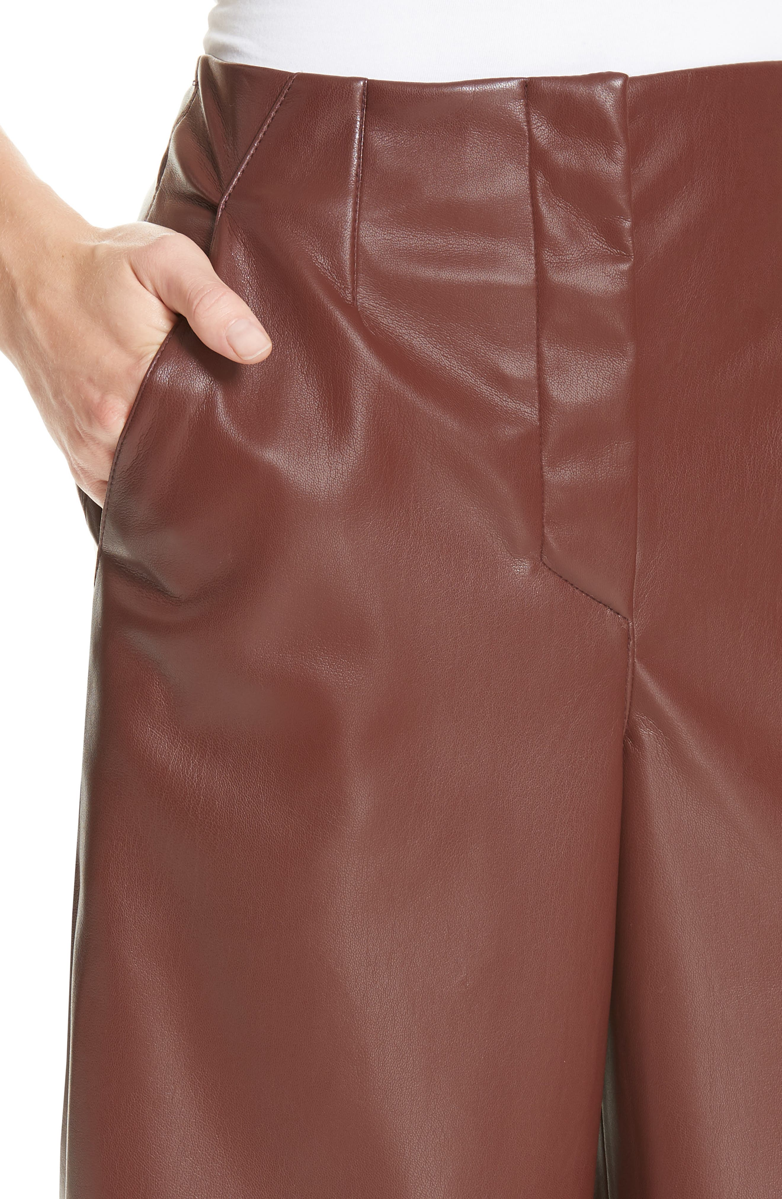 Africa Faux Leather Wide Leg Crop Pants,                             Alternate thumbnail 4, color,                             PLUM CHUTNEY
