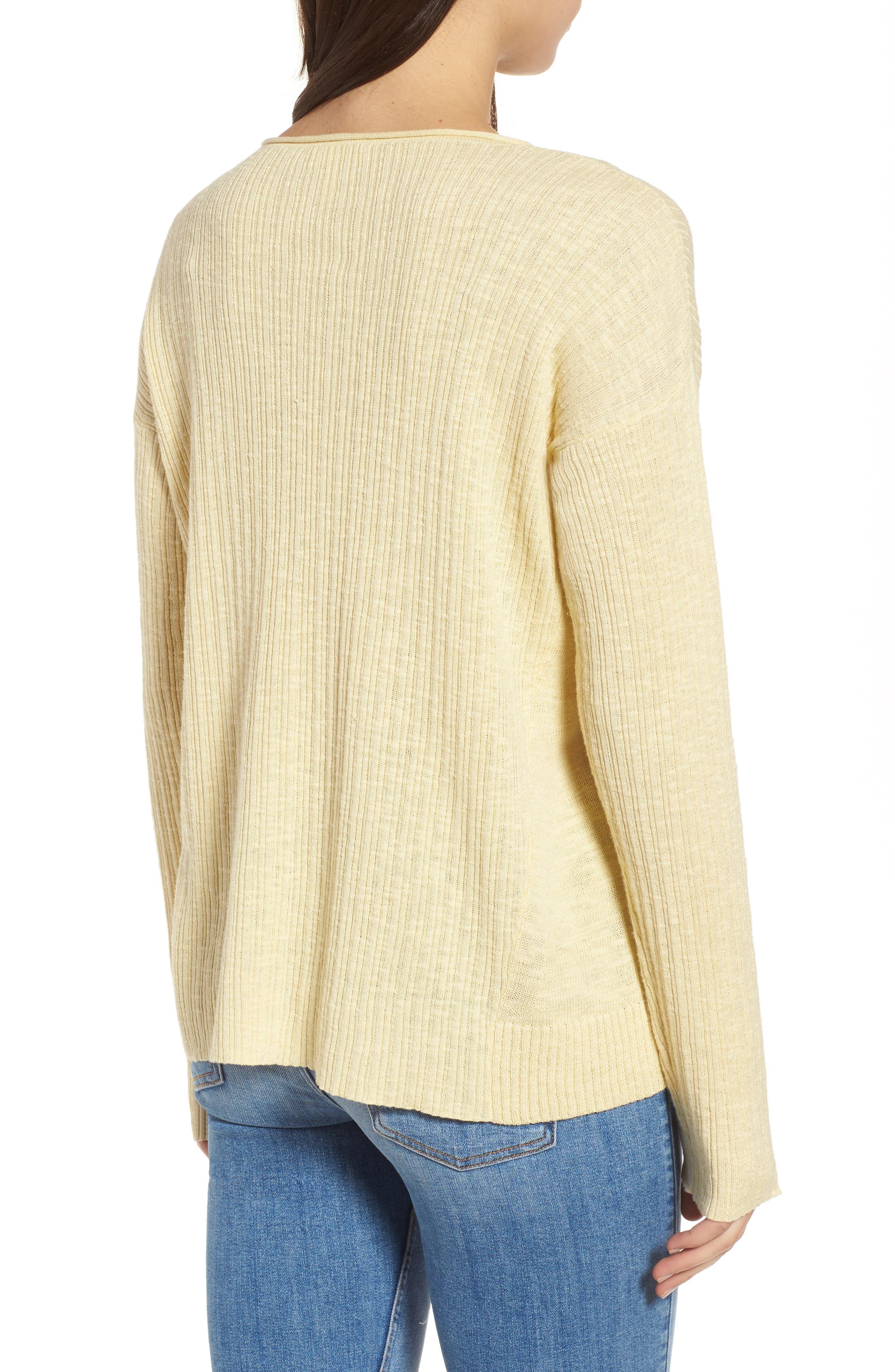 Organic Linen & Cotton Crewneck Sweater,                             Alternate thumbnail 7, color,