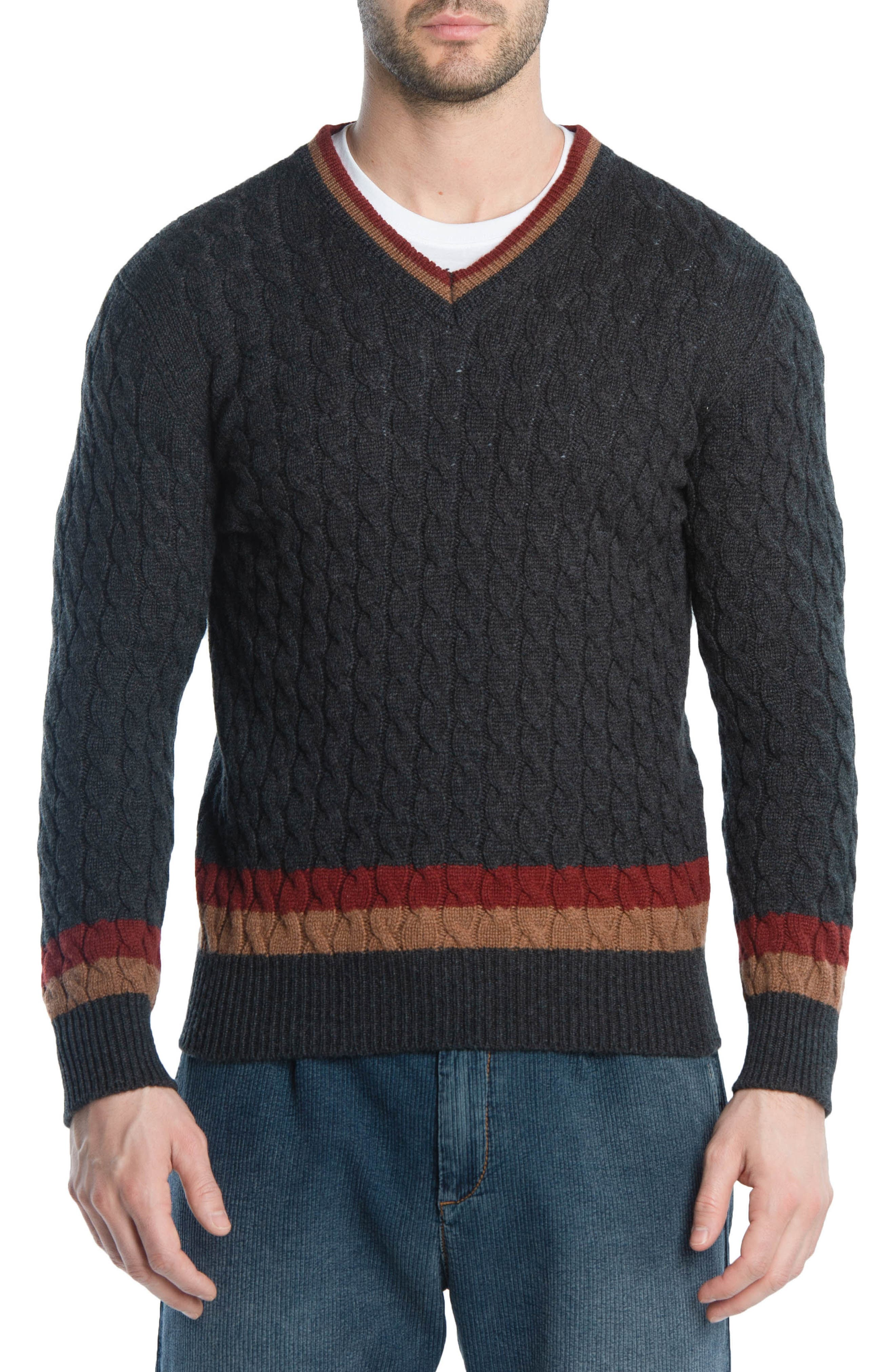 Cableknit Cashmere V-Neck Sweater,                             Main thumbnail 1, color,                             DARK GREY