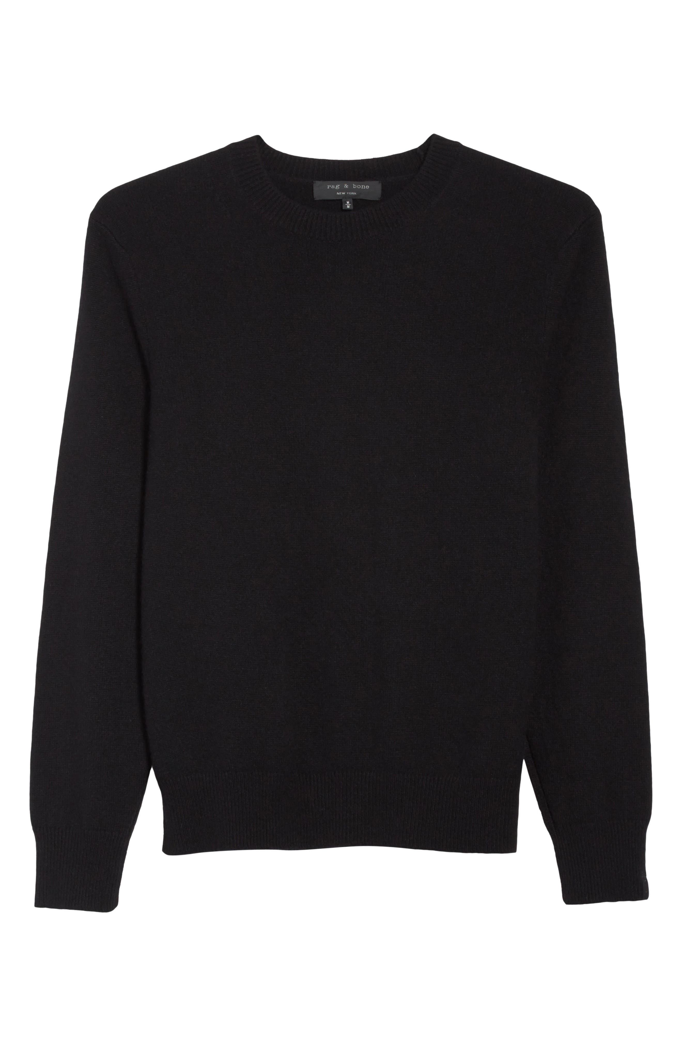 Haldon Cashmere Crewneck Sweatshirt,                             Alternate thumbnail 6, color,                             001