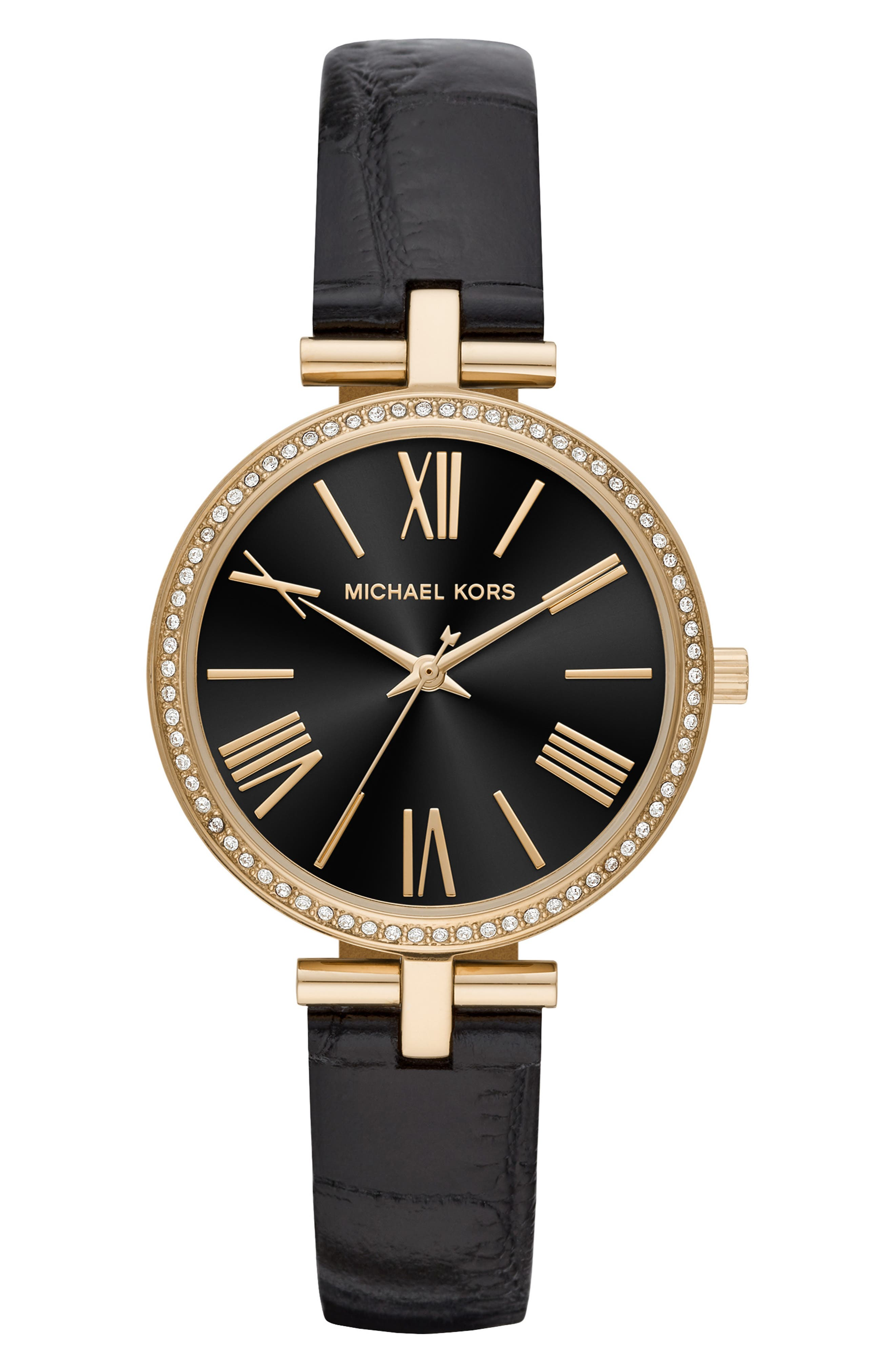 Maci Leather Strap Watch, 34mm,                         Main,                         color, BLACK/ MOP/ GOLD