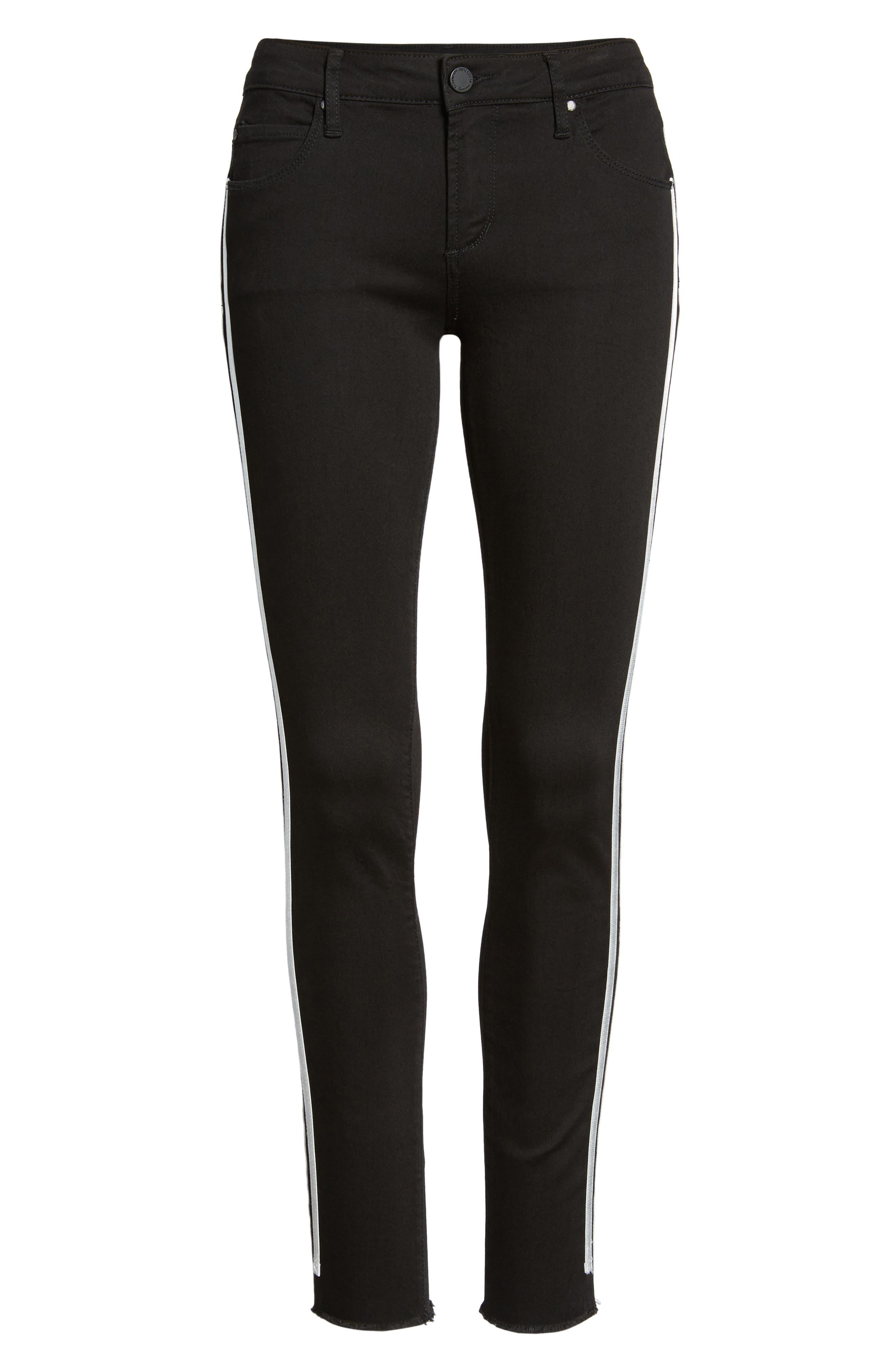 Sarah Stripe Skinny Jeans,                             Alternate thumbnail 6, color,                             011